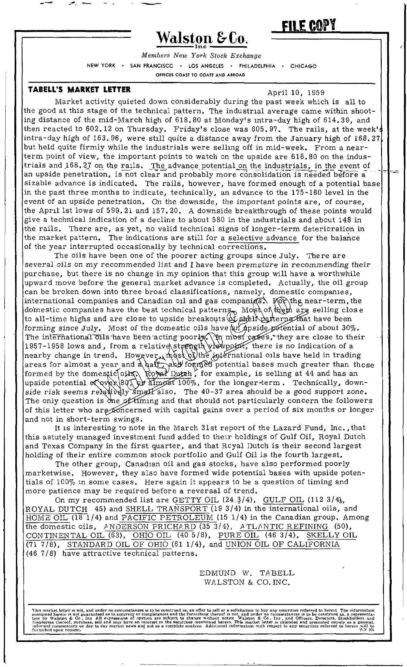 Tabell's Market Letter - April 10, 1959