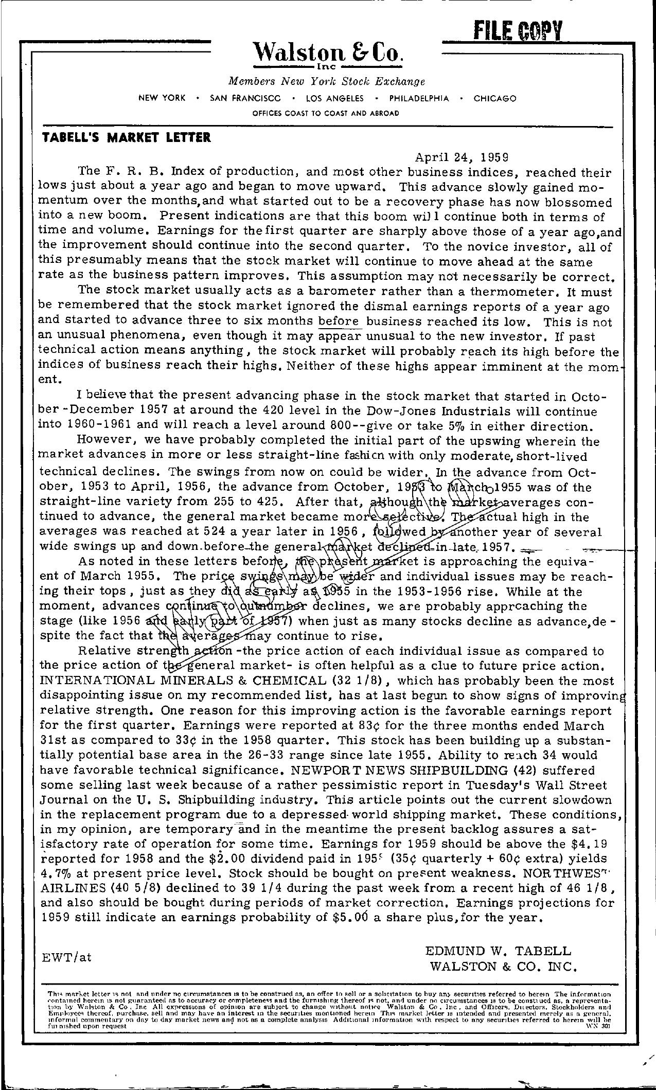 Tabell's Market Letter - April 24, 1959