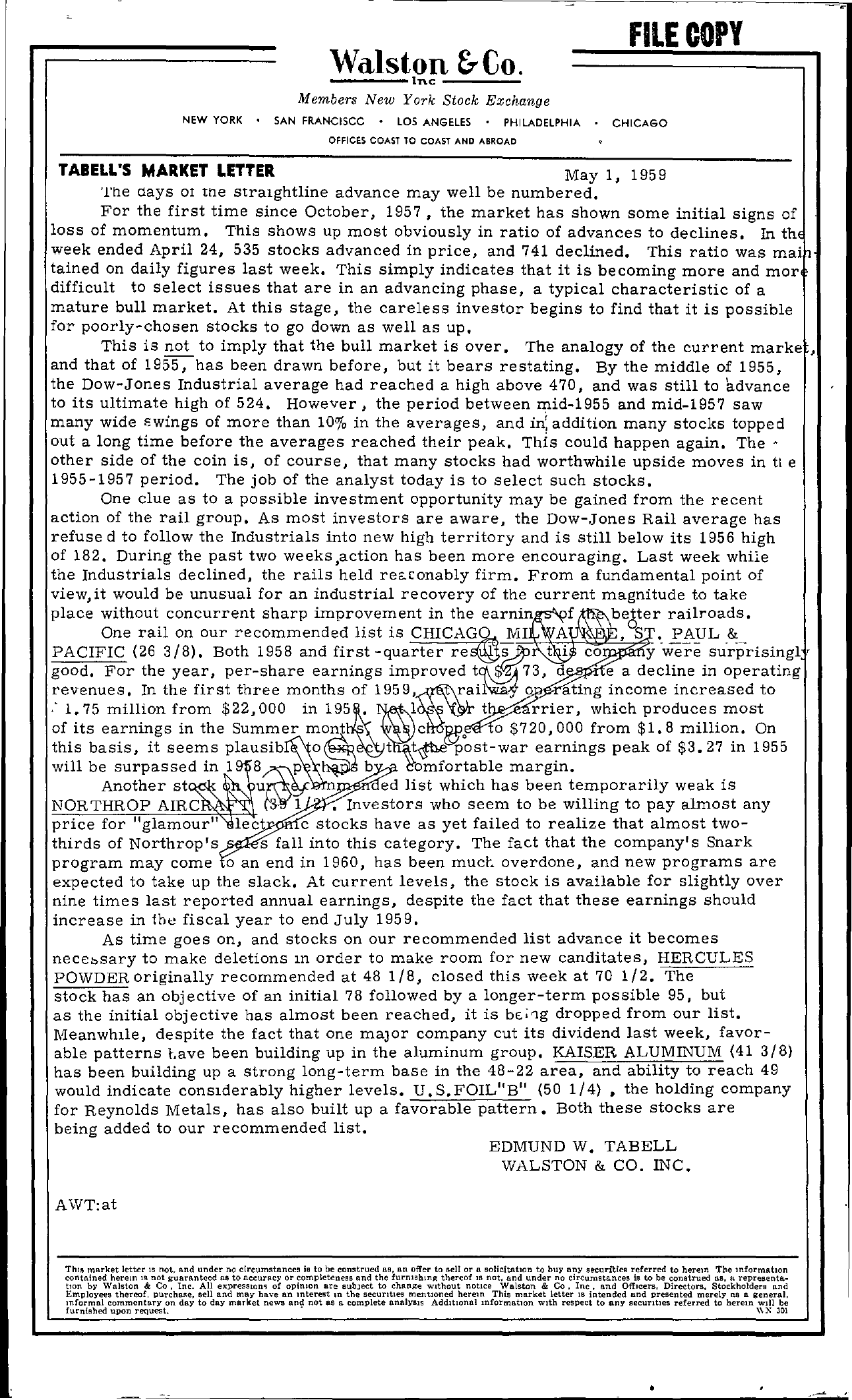 Tabell's Market Letter - May 01, 1959