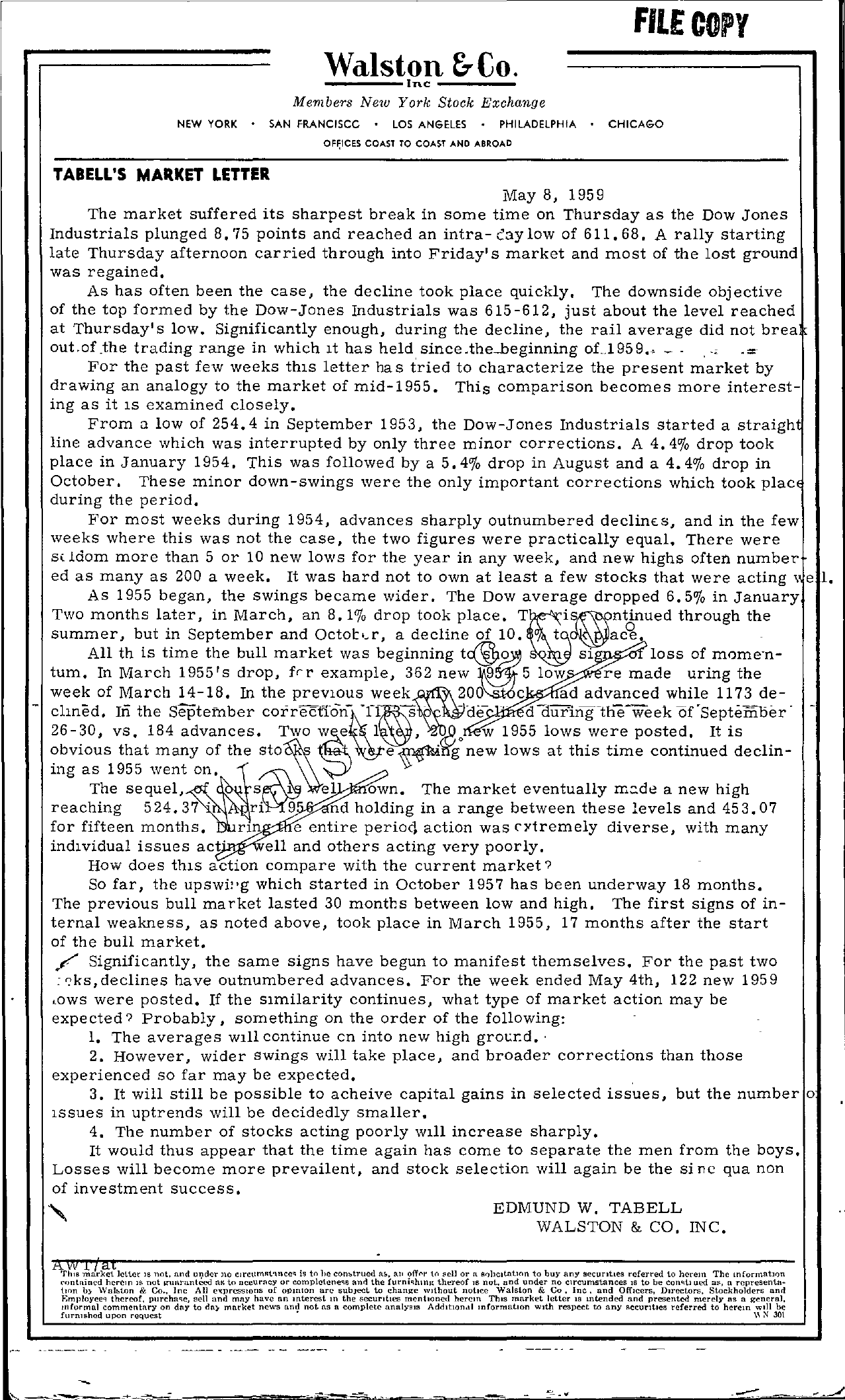 Tabell's Market Letter - May 08, 1959