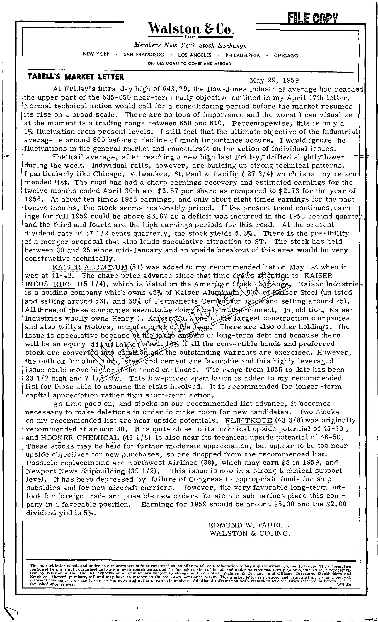 Tabell's Market Letter - May 29, 1959
