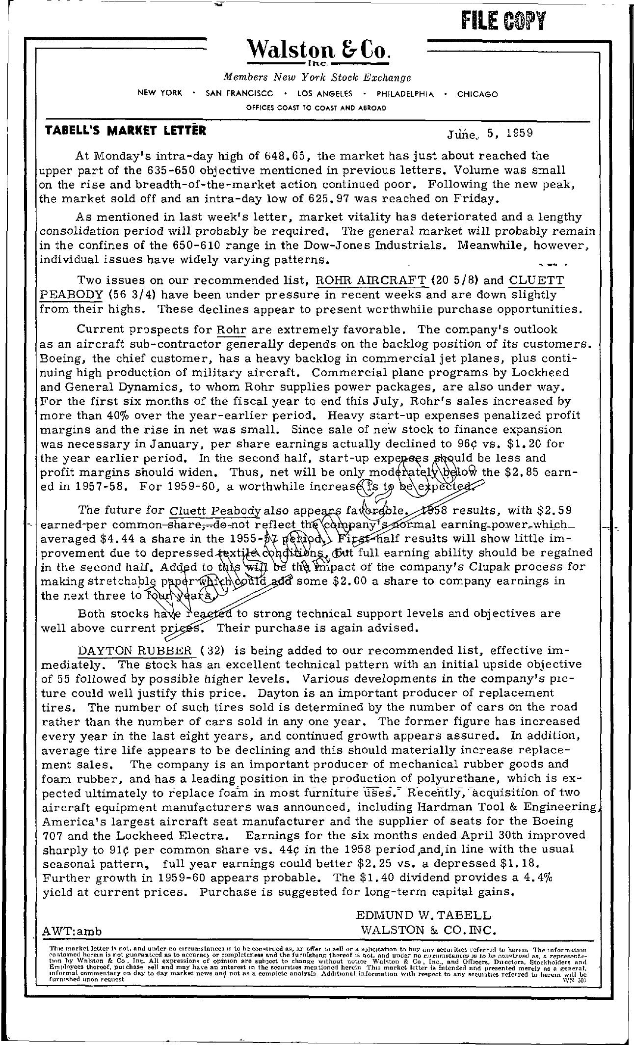Tabell's Market Letter - June 05, 1959