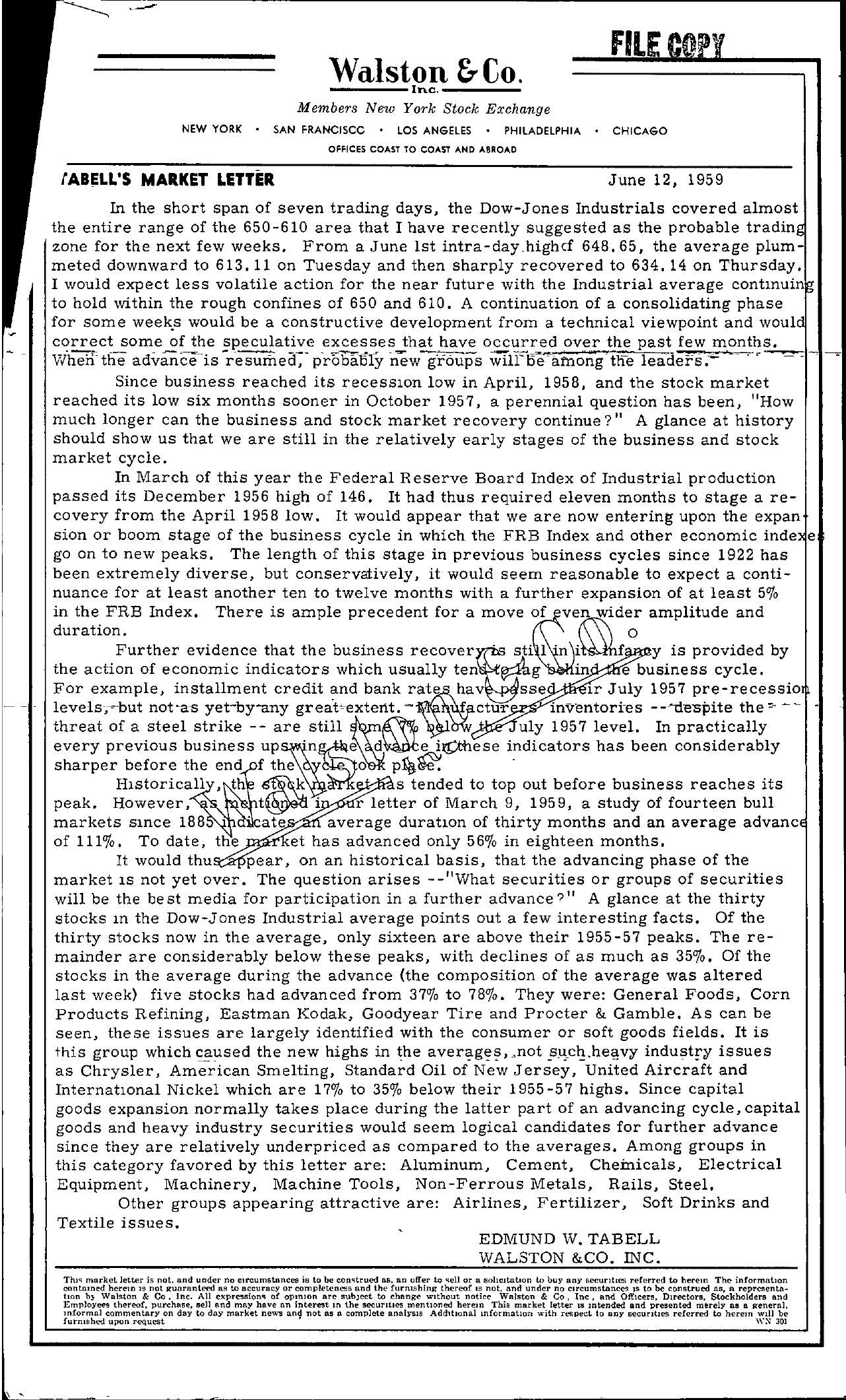Tabell's Market Letter - June 12, 1959