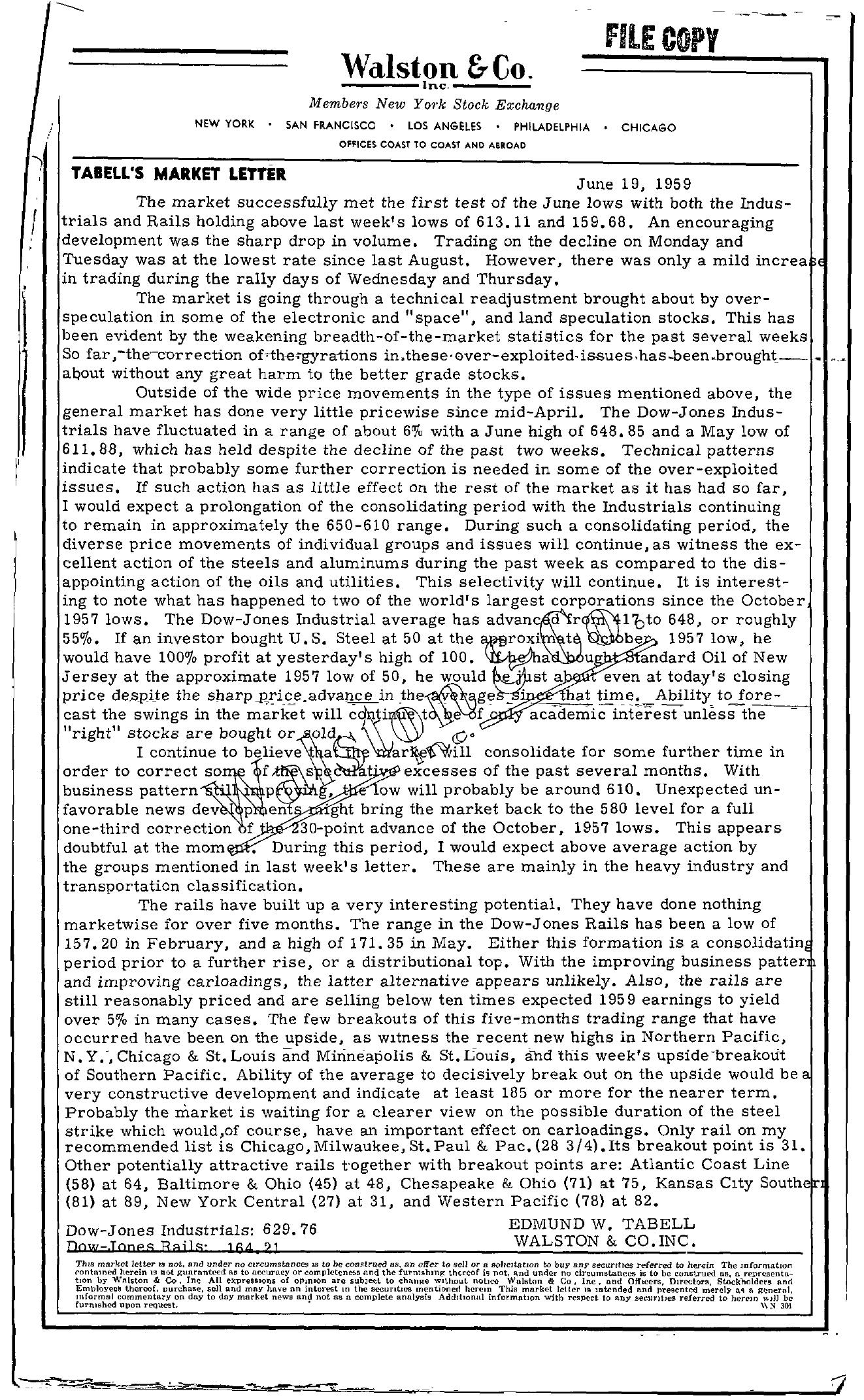 Tabell's Market Letter - June 19, 1959