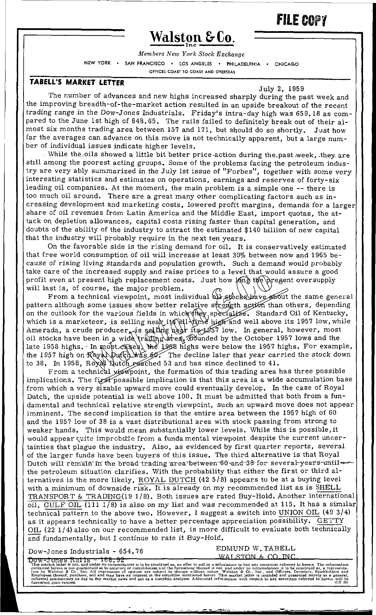 Tabell's Market Letter - July 02, 1959