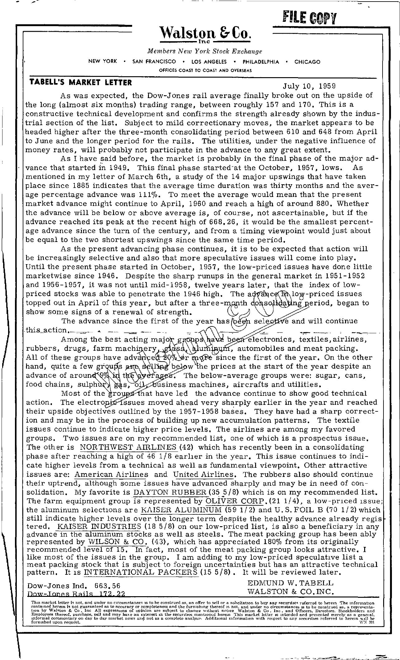 Tabell's Market Letter - July 10, 1959