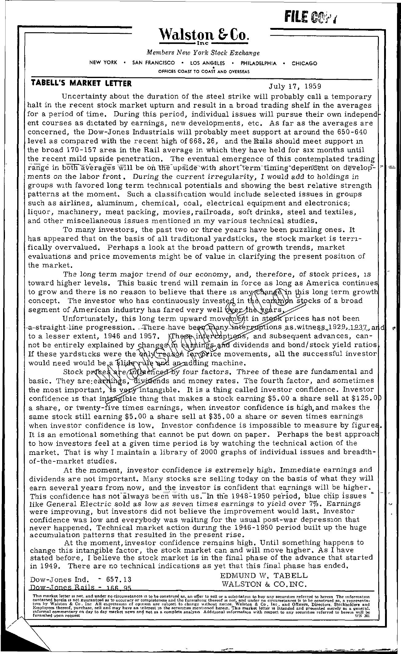 Tabell's Market Letter - July 17, 1959