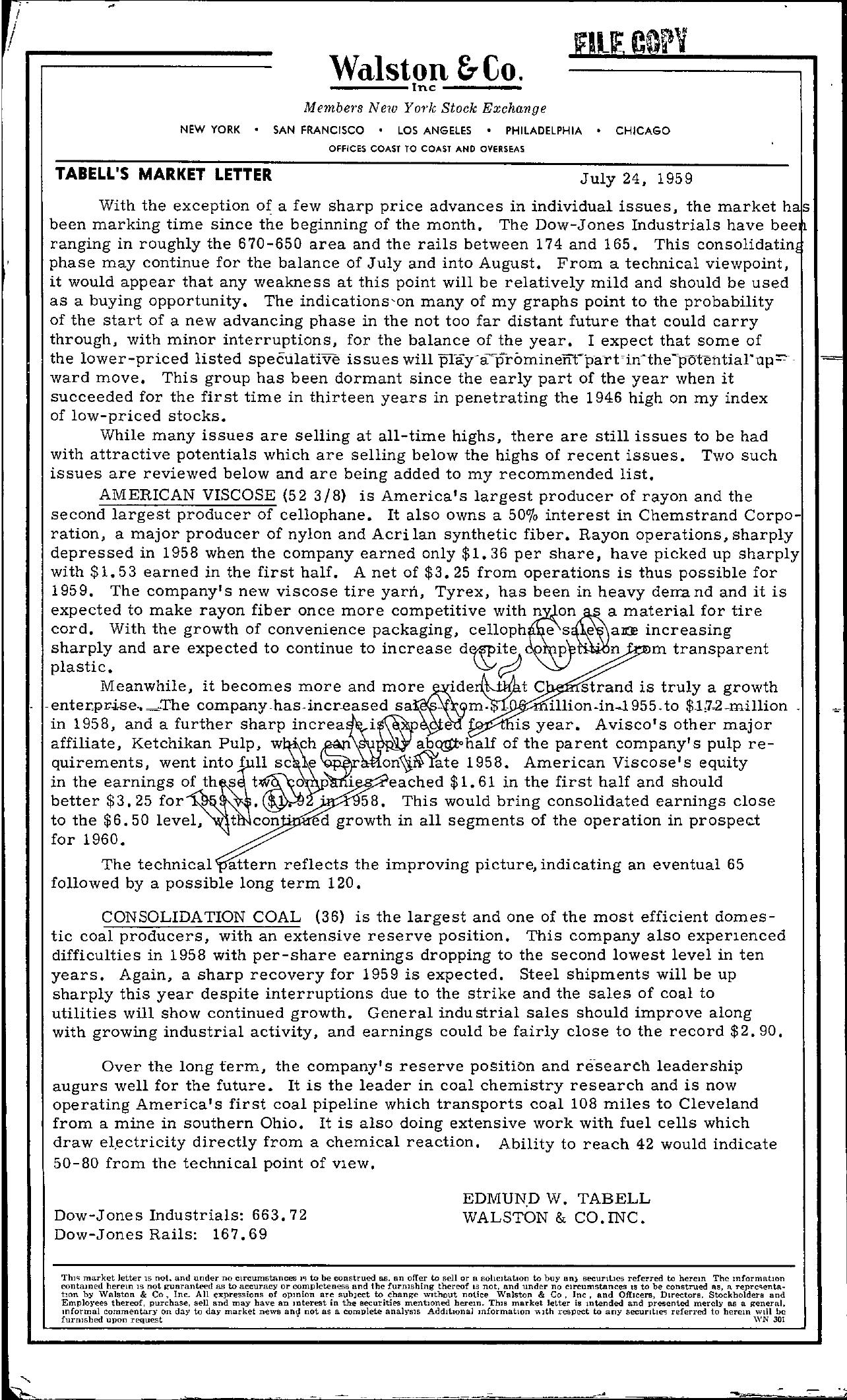 Tabell's Market Letter - July 24, 1959