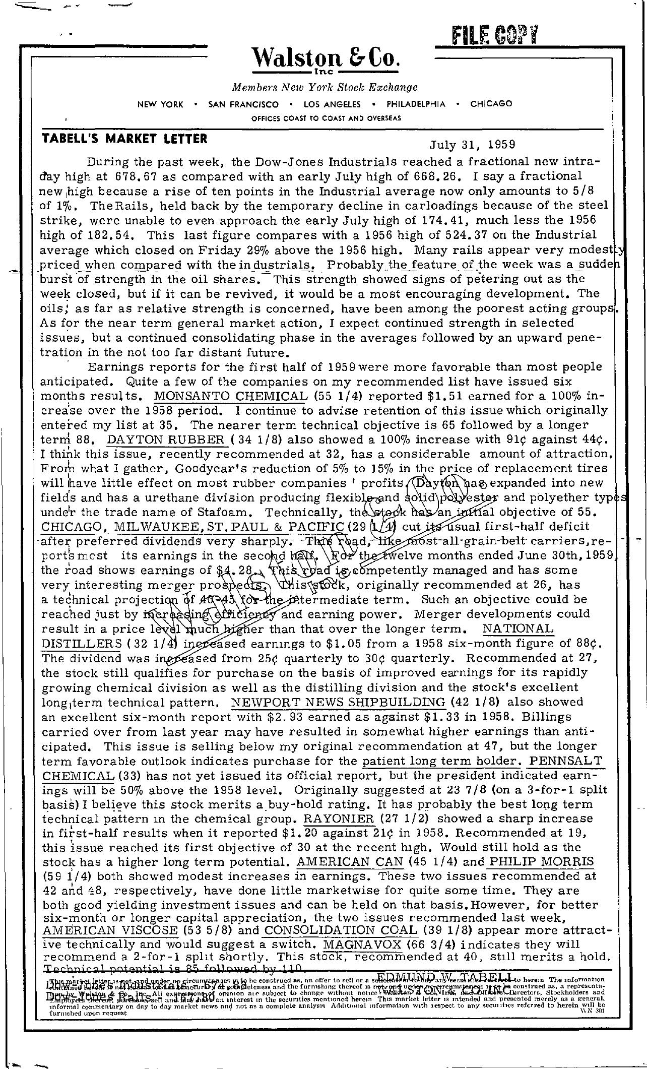 Tabell's Market Letter - July 31, 1959