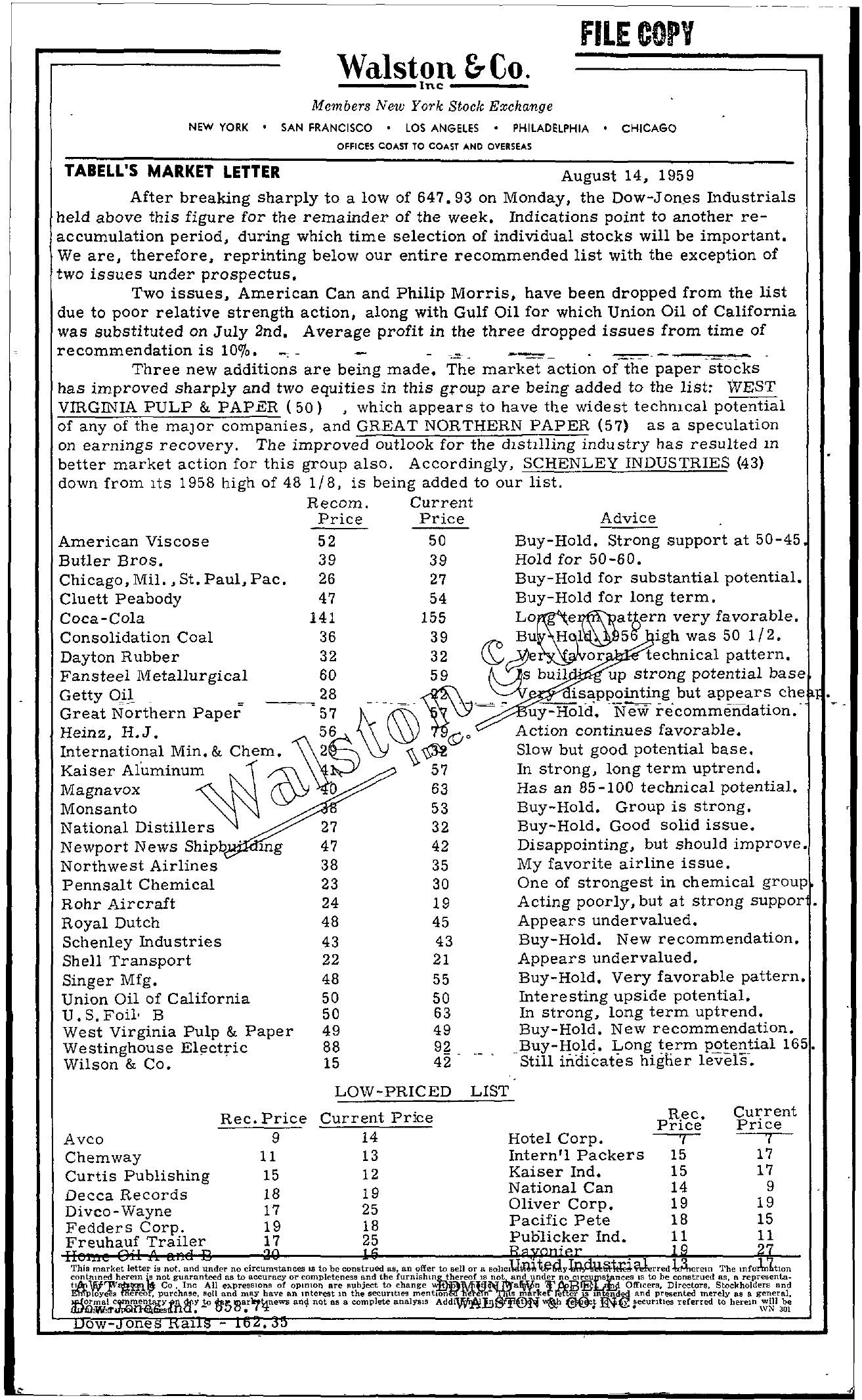 Tabell's Market Letter - August 14, 1959