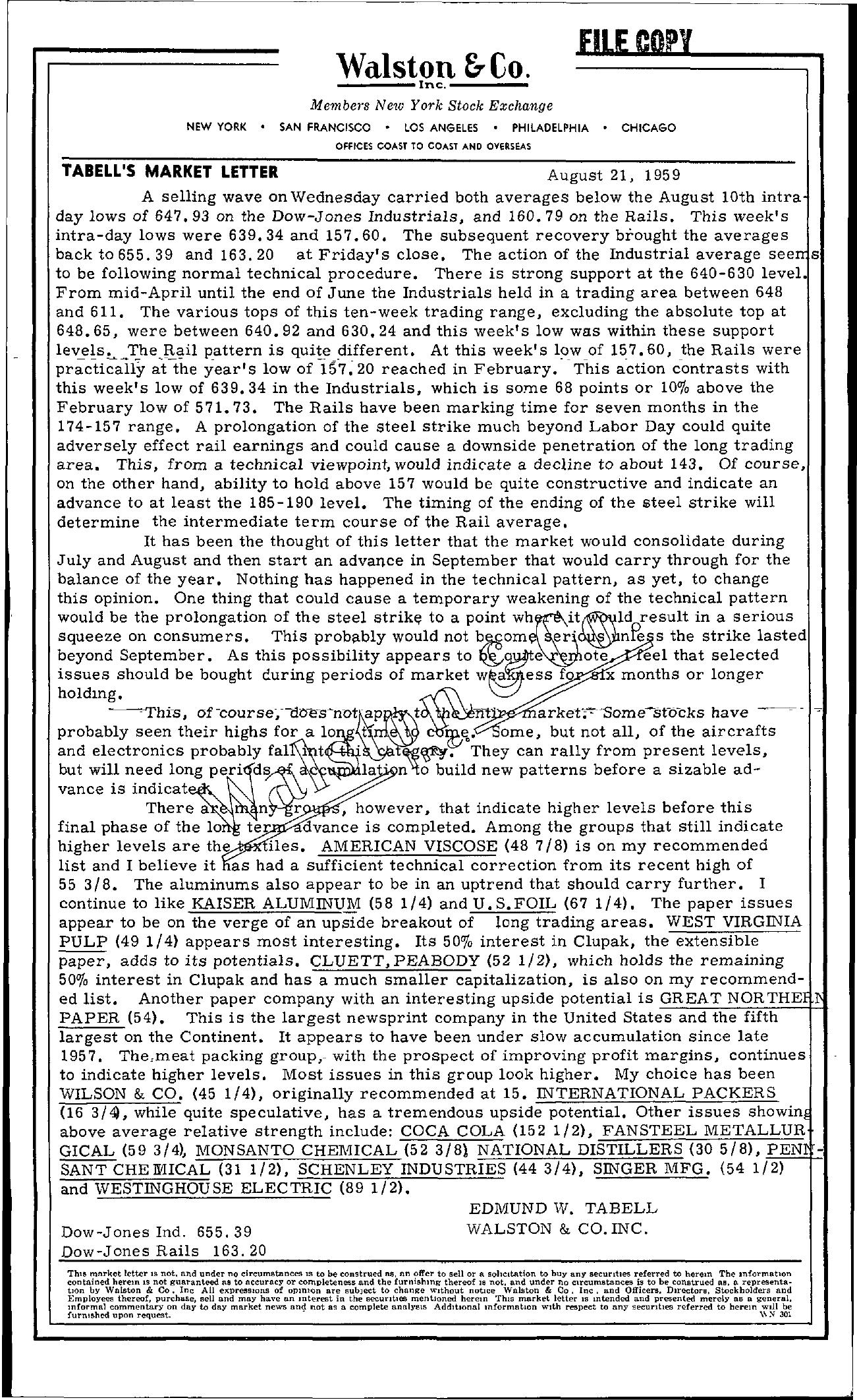 Tabell's Market Letter - August 21, 1959