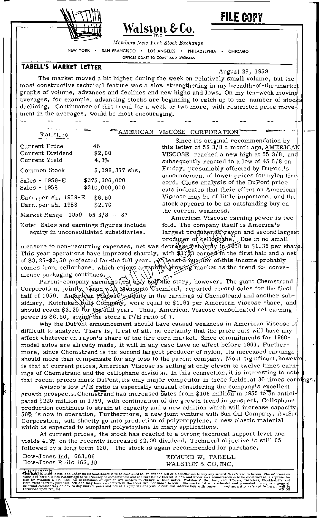 Tabell's Market Letter - August 28, 1959