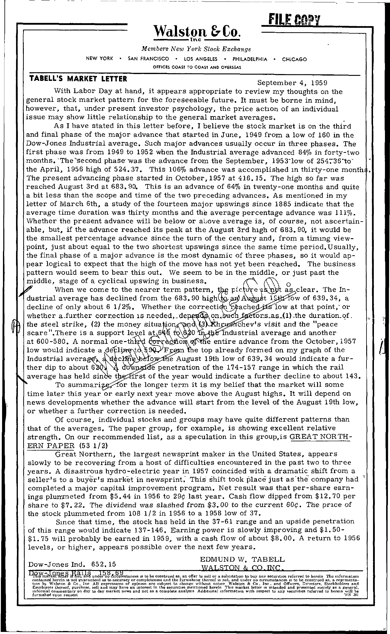 Tabell's Market Letter - September 04, 1959
