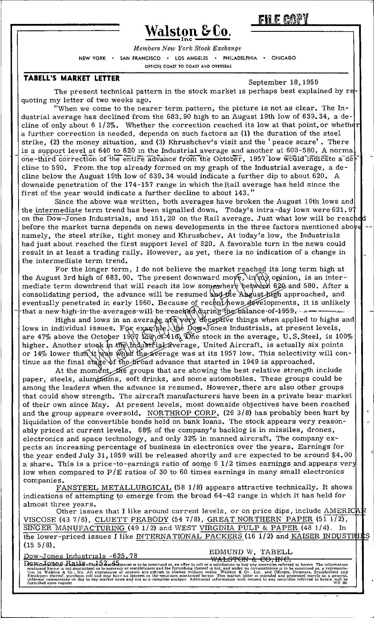 Tabell's Market Letter - September 18, 1959
