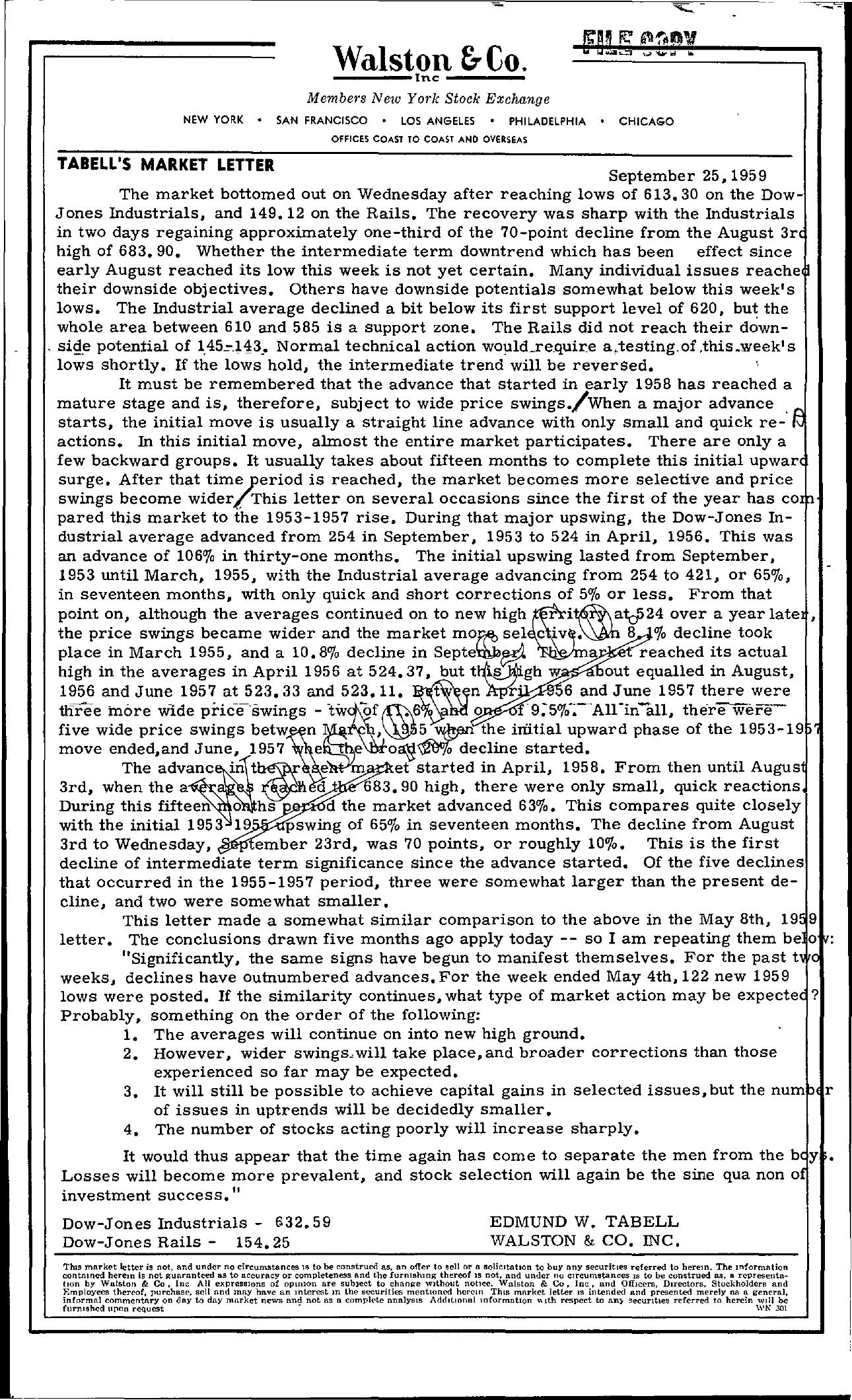 Tabell's Market Letter - September 25, 1959