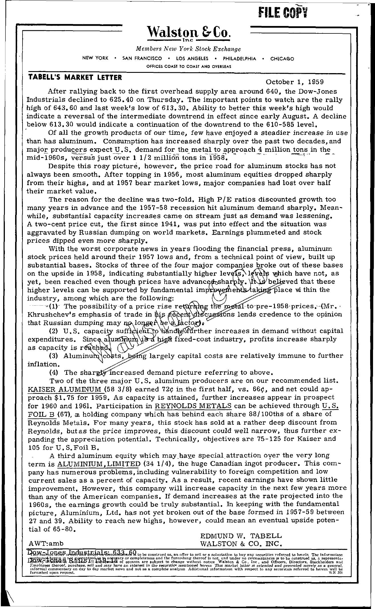 Tabell's Market Letter - October 01, 1959