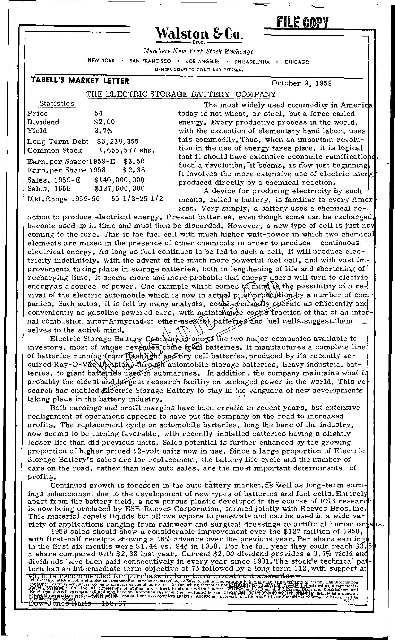 Tabell's Market Letter - October 09, 1959