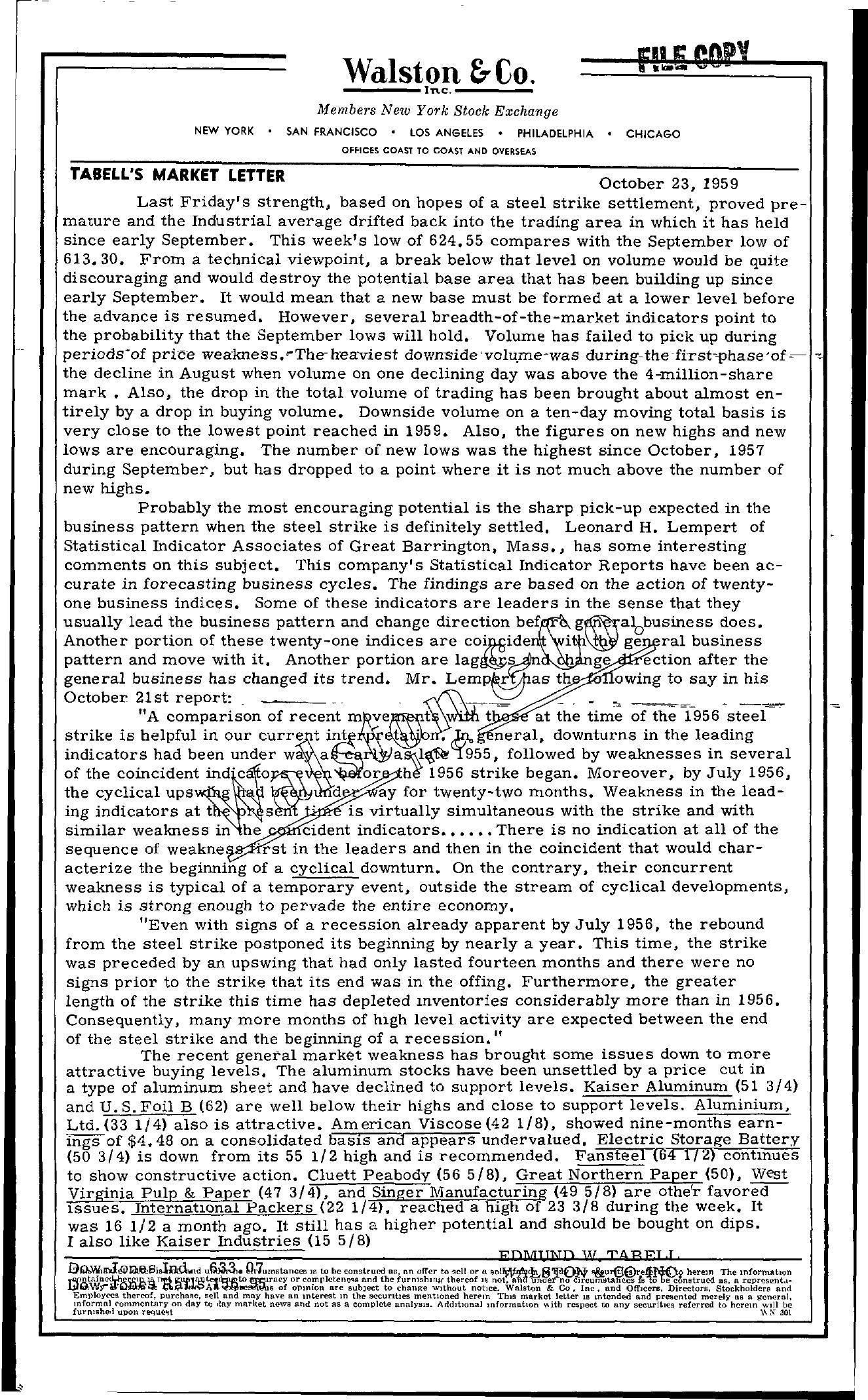 Tabell's Market Letter - October 23, 1959