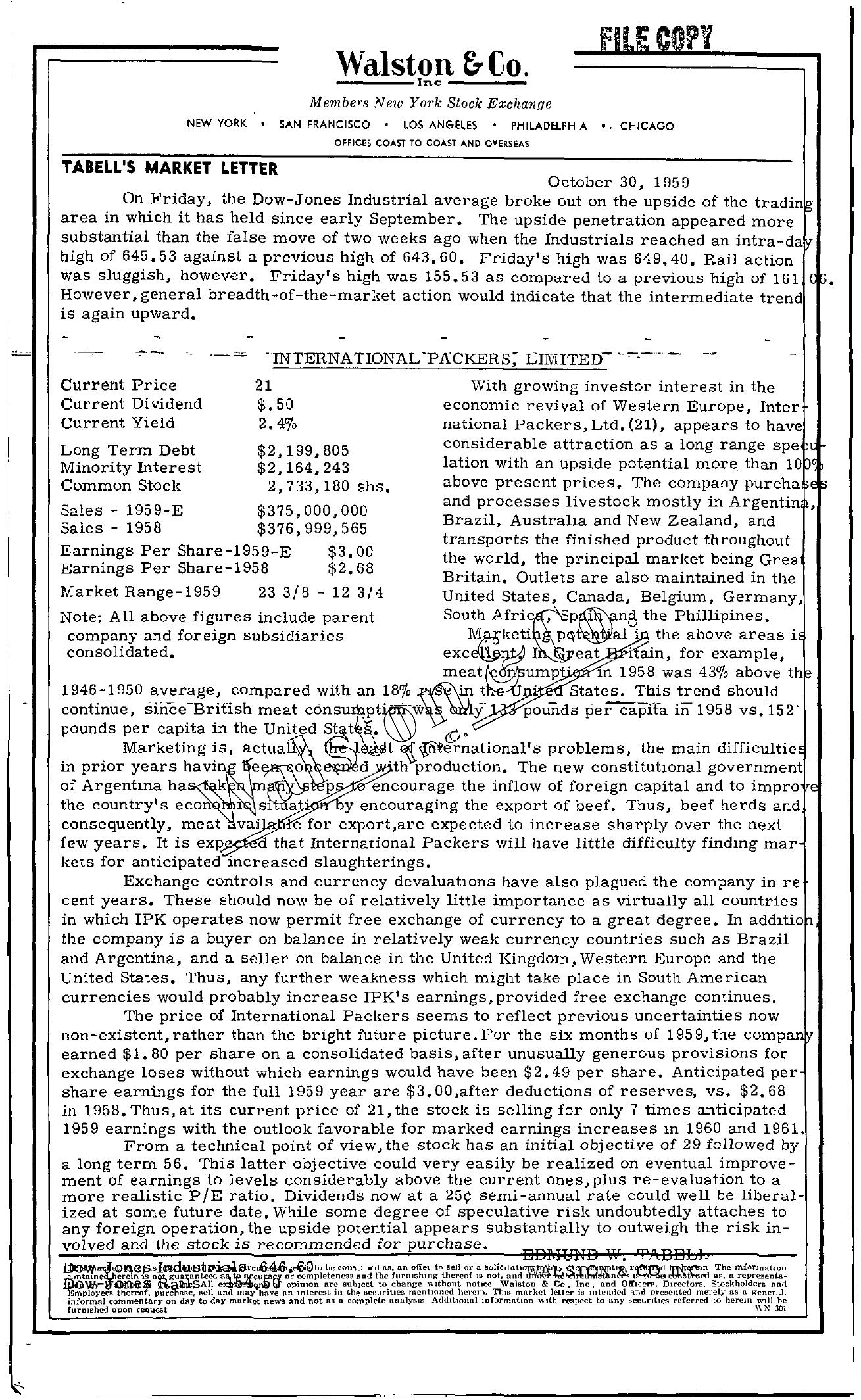 Tabell's Market Letter - October 30, 1959