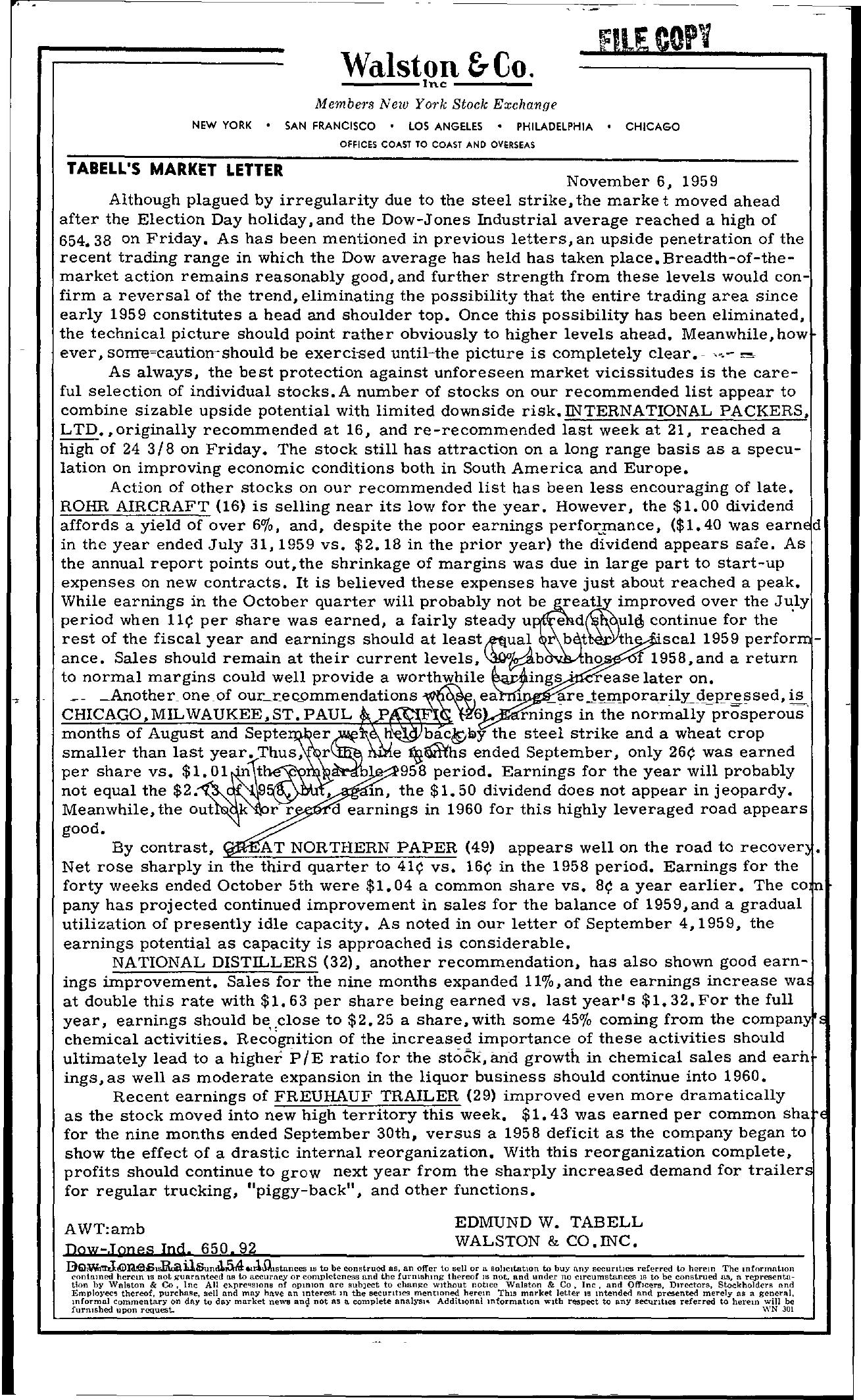 Tabell's Market Letter - November 06, 1959