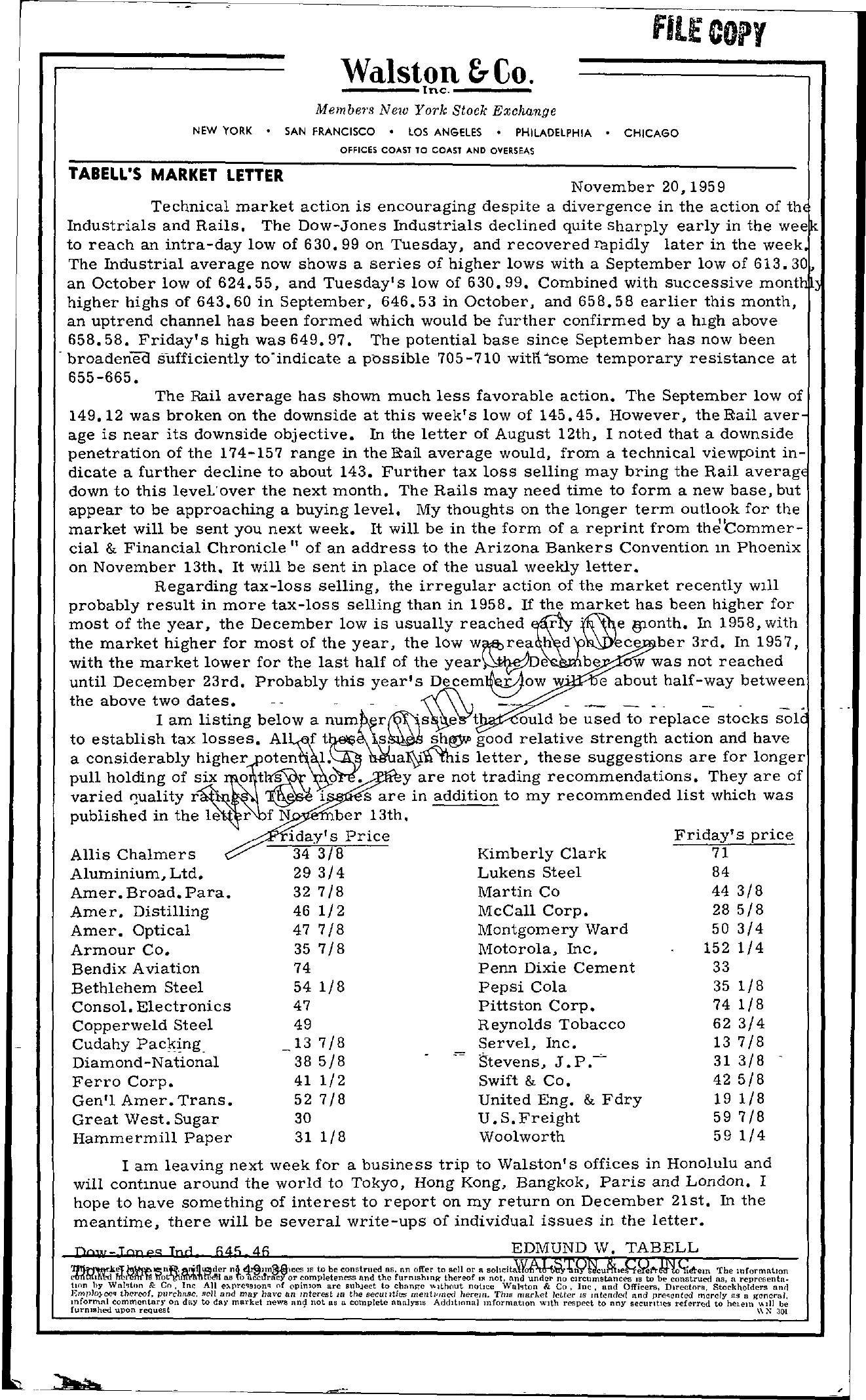 Tabell's Market Letter - November 20, 1959