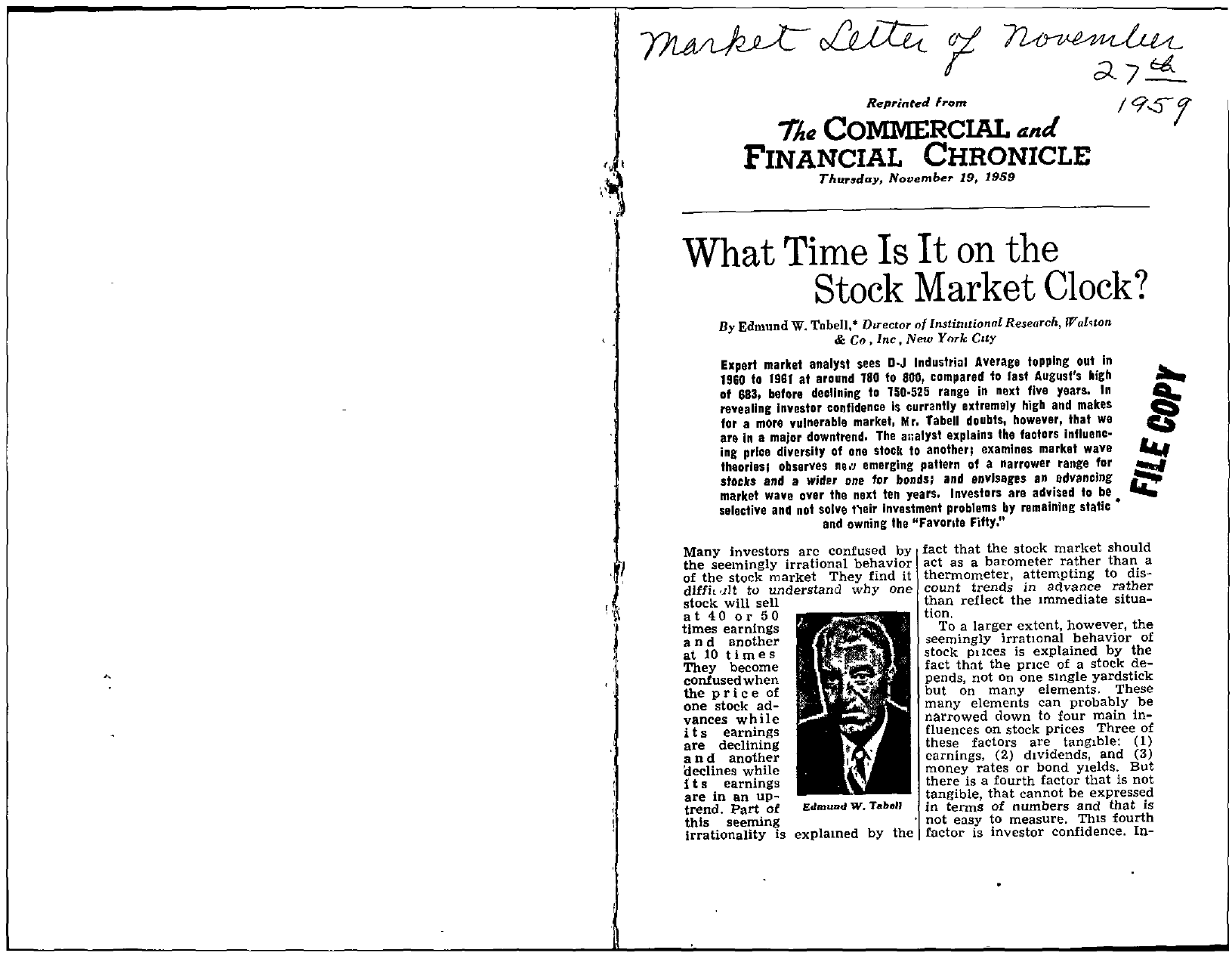 Tabell's Market Letter - November 27, 1959 page 1