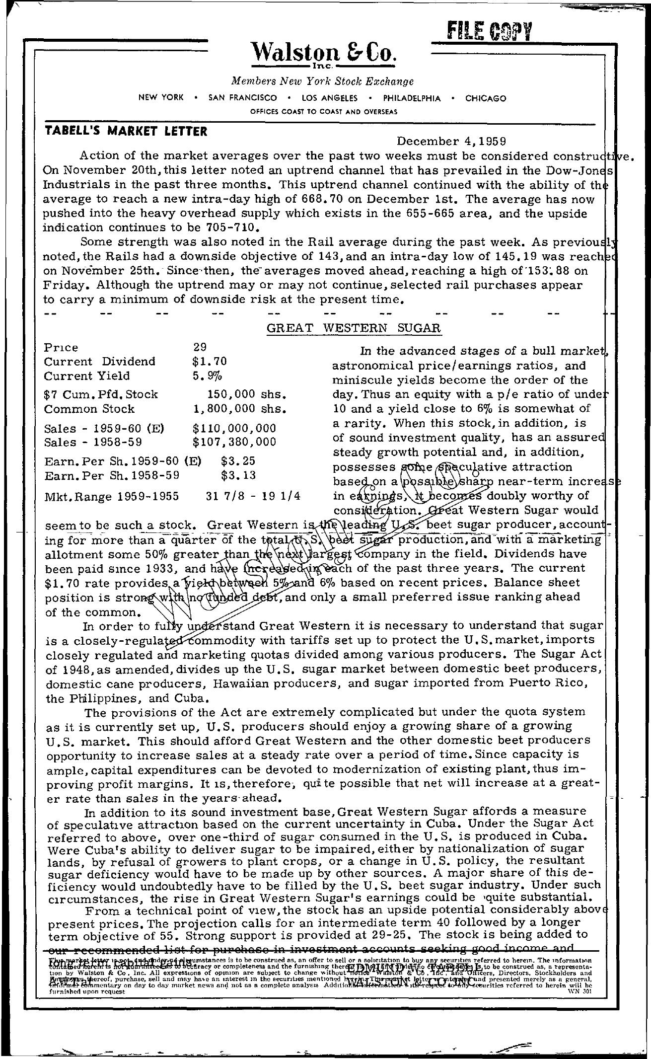 Tabell's Market Letter - December 04, 1959