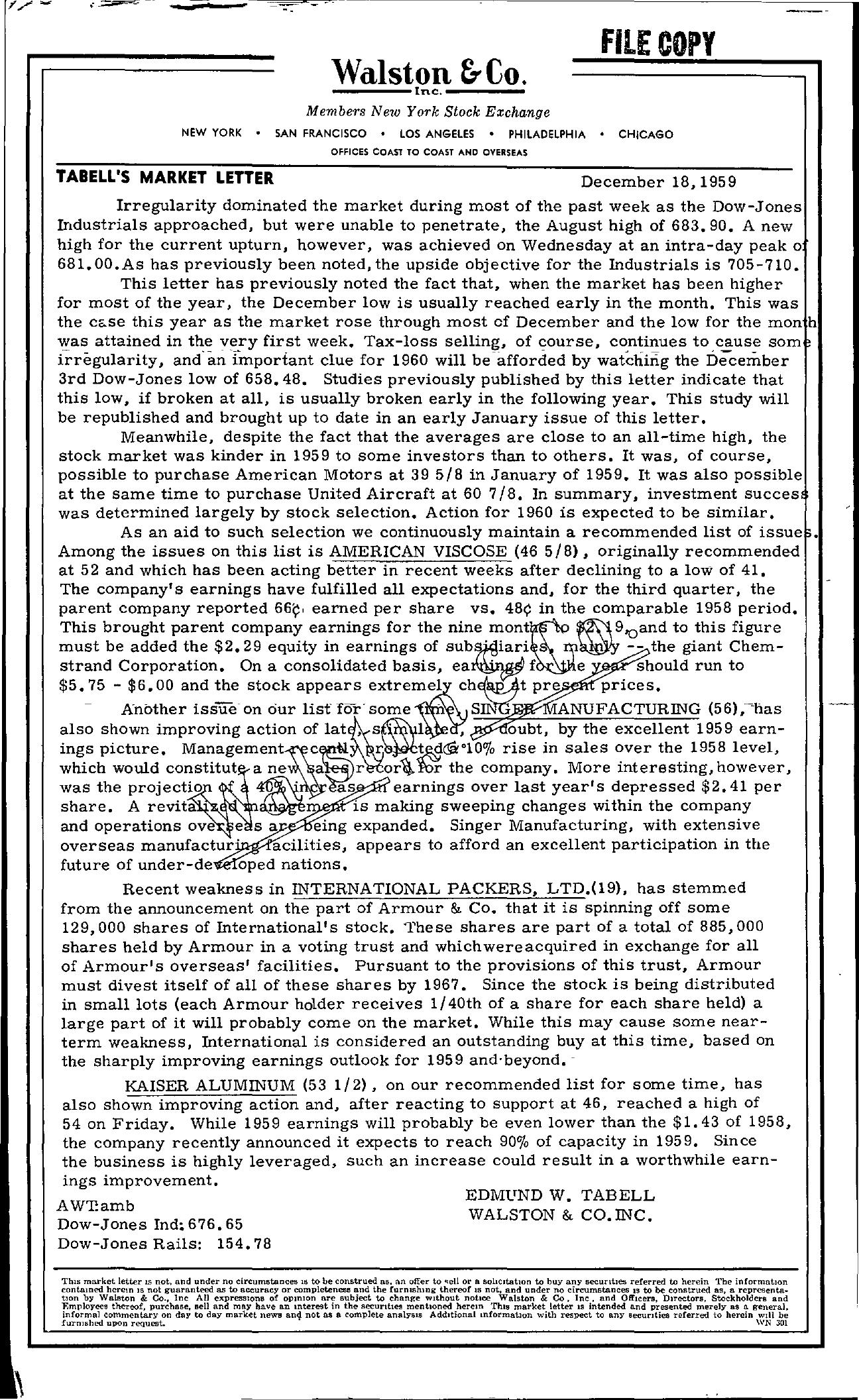 Tabell's Market Letter - December 18, 1959