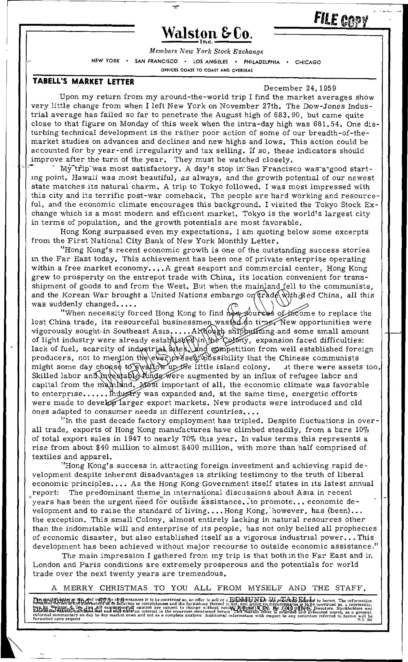 Tabell's Market Letter - December 24, 1959