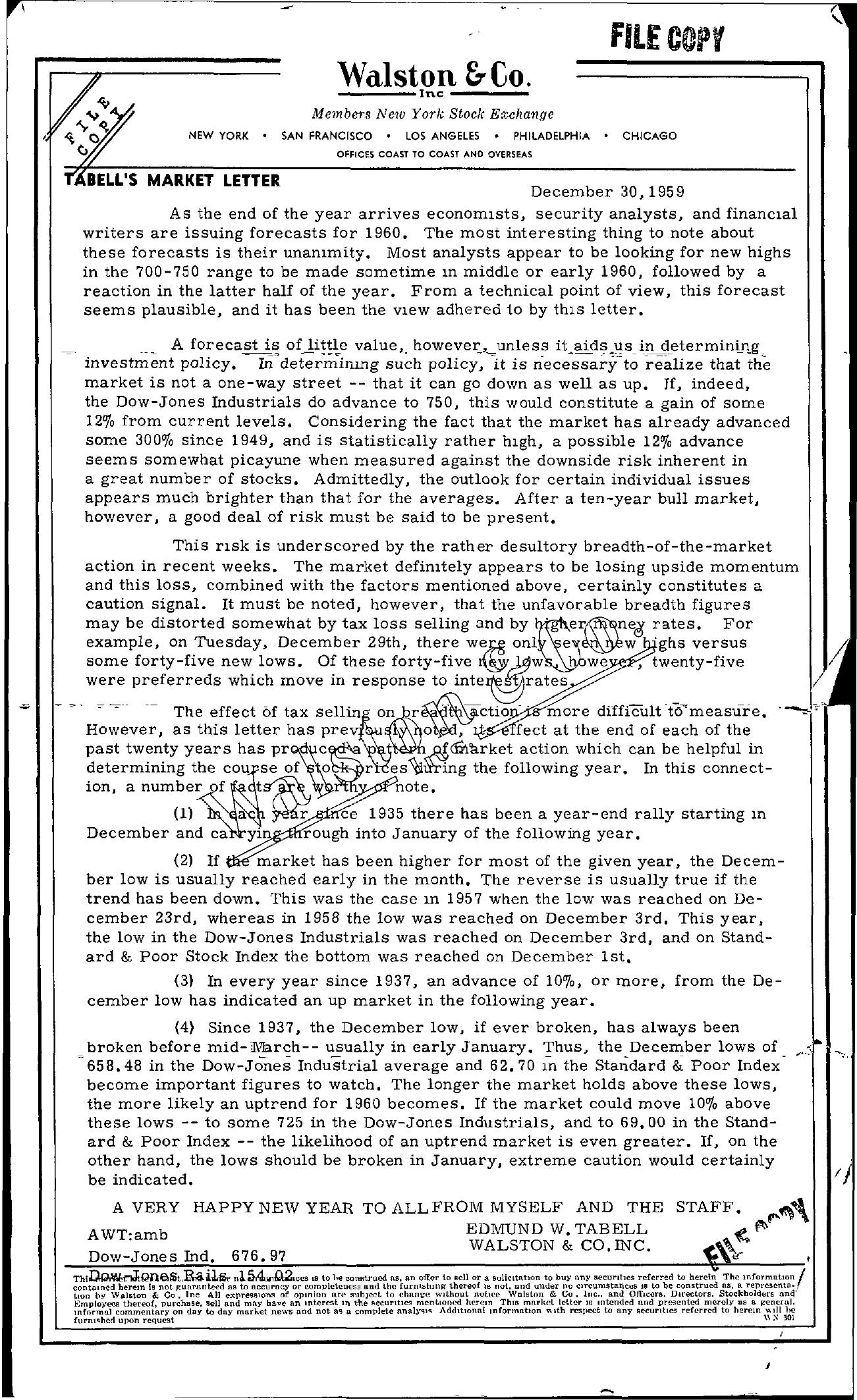 Tabell's Market Letter - December 30, 1959