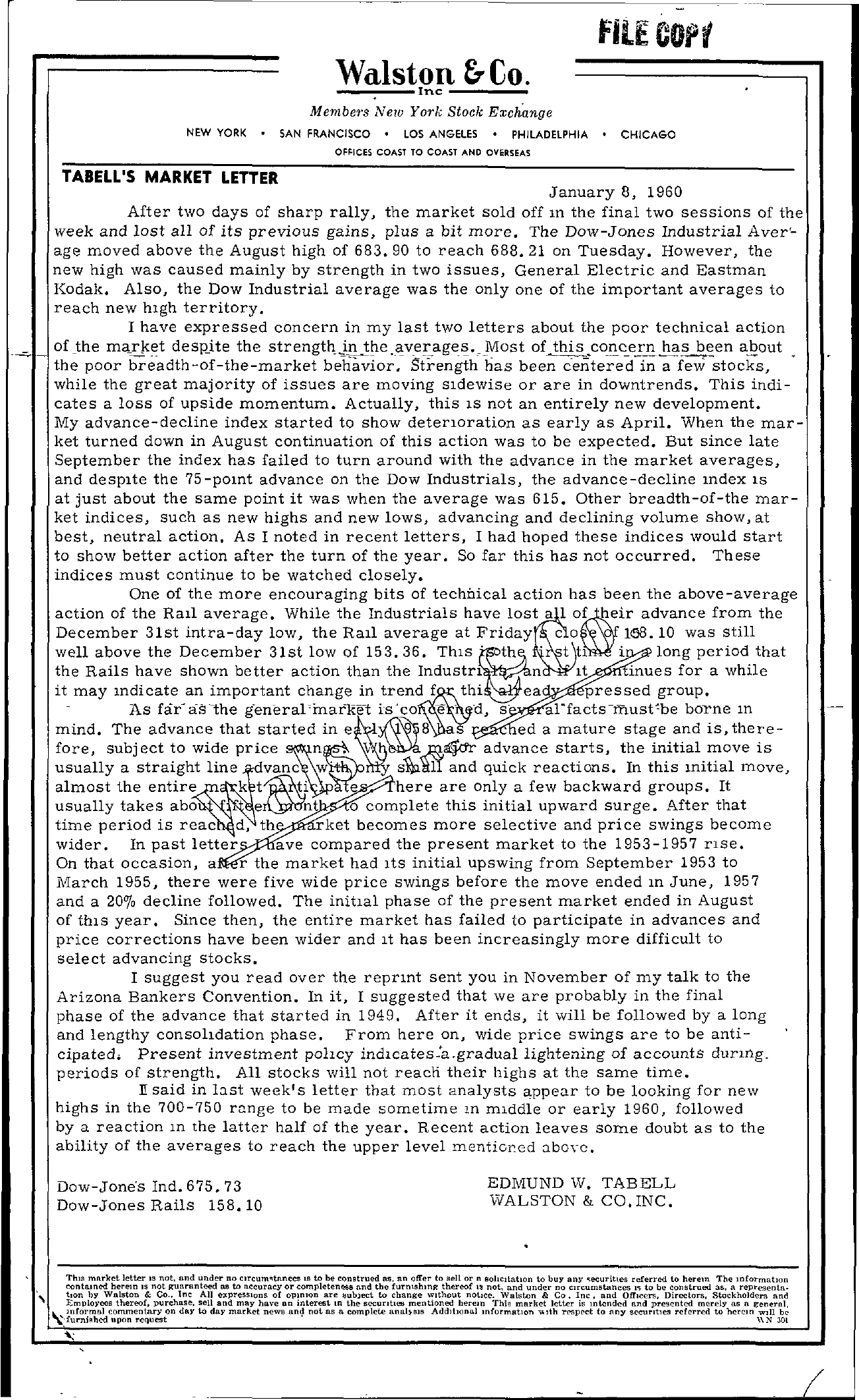 Tabell's Market Letter - January 08, 1960