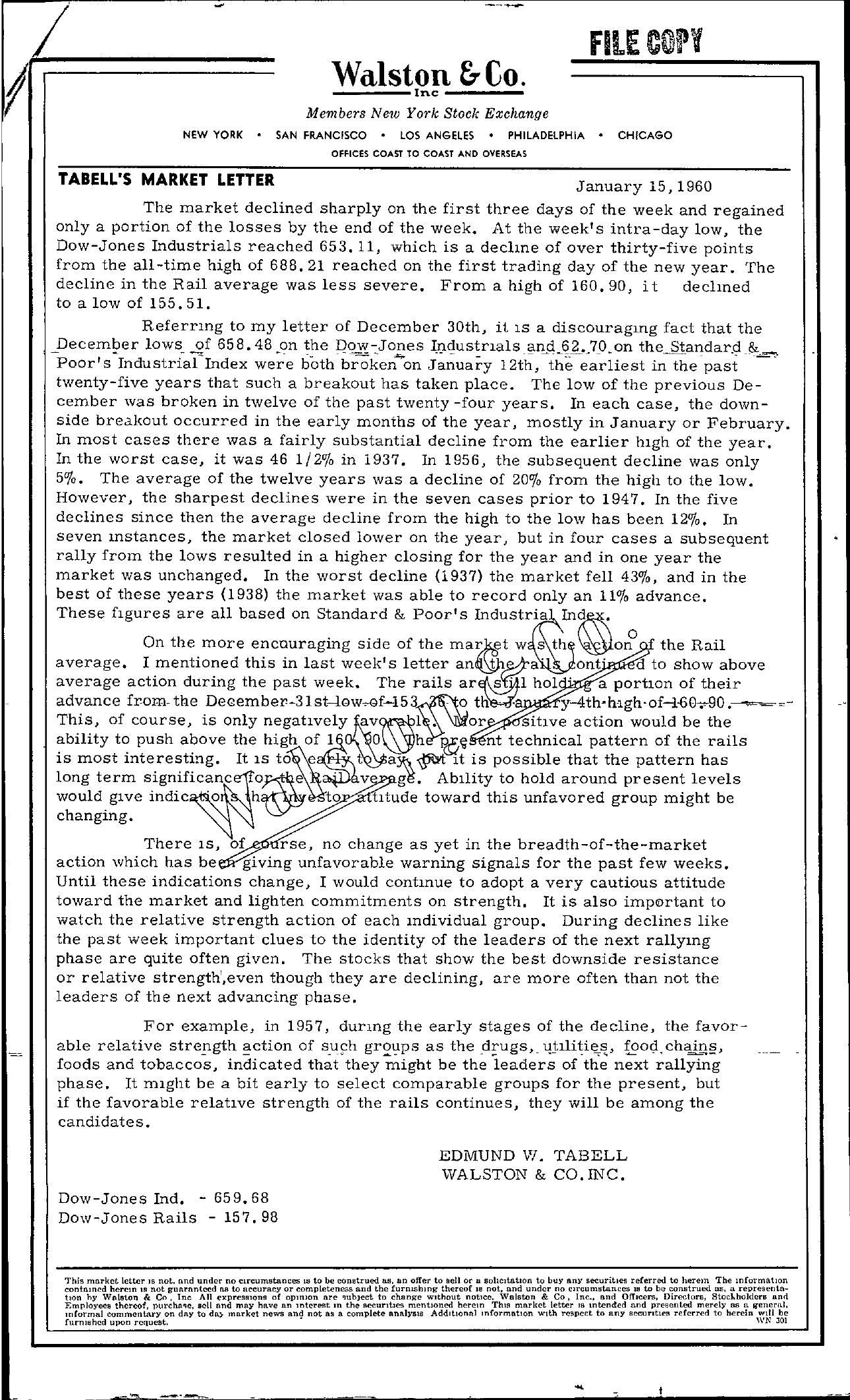 Tabell's Market Letter - January 15, 1960
