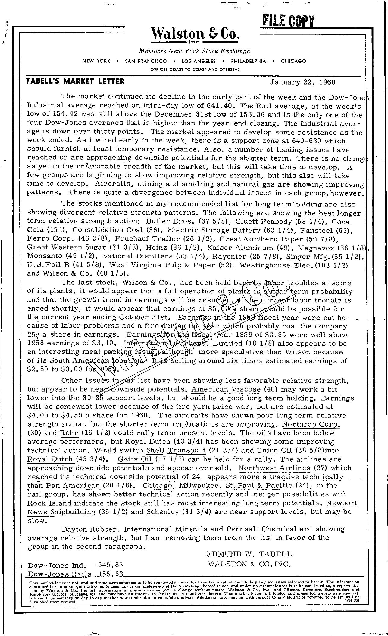 Tabell's Market Letter - January 22, 1960