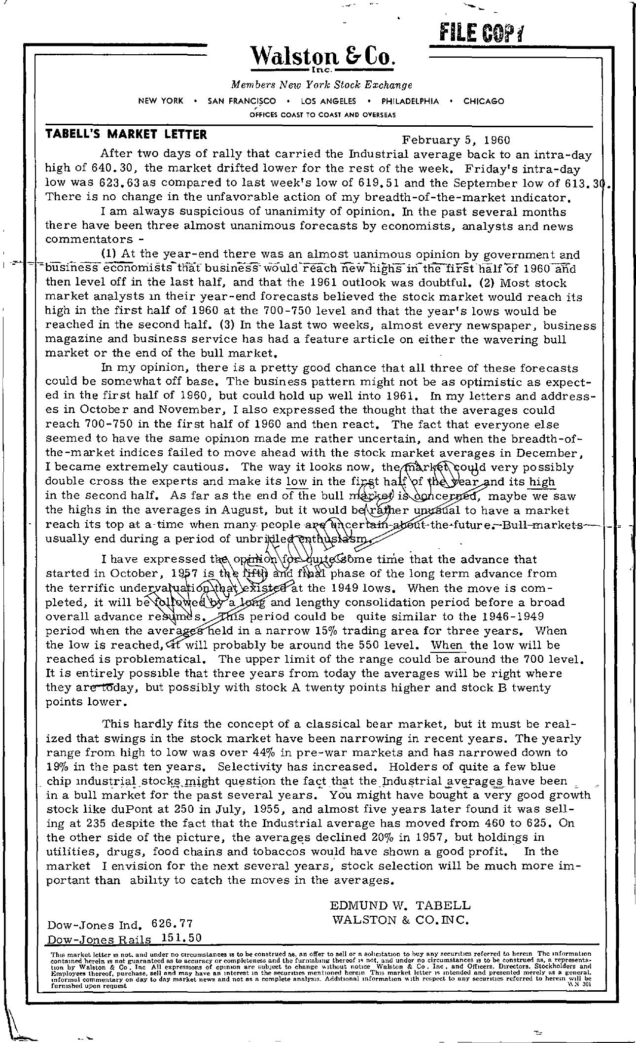 Tabell's Market Letter - February 05, 1960