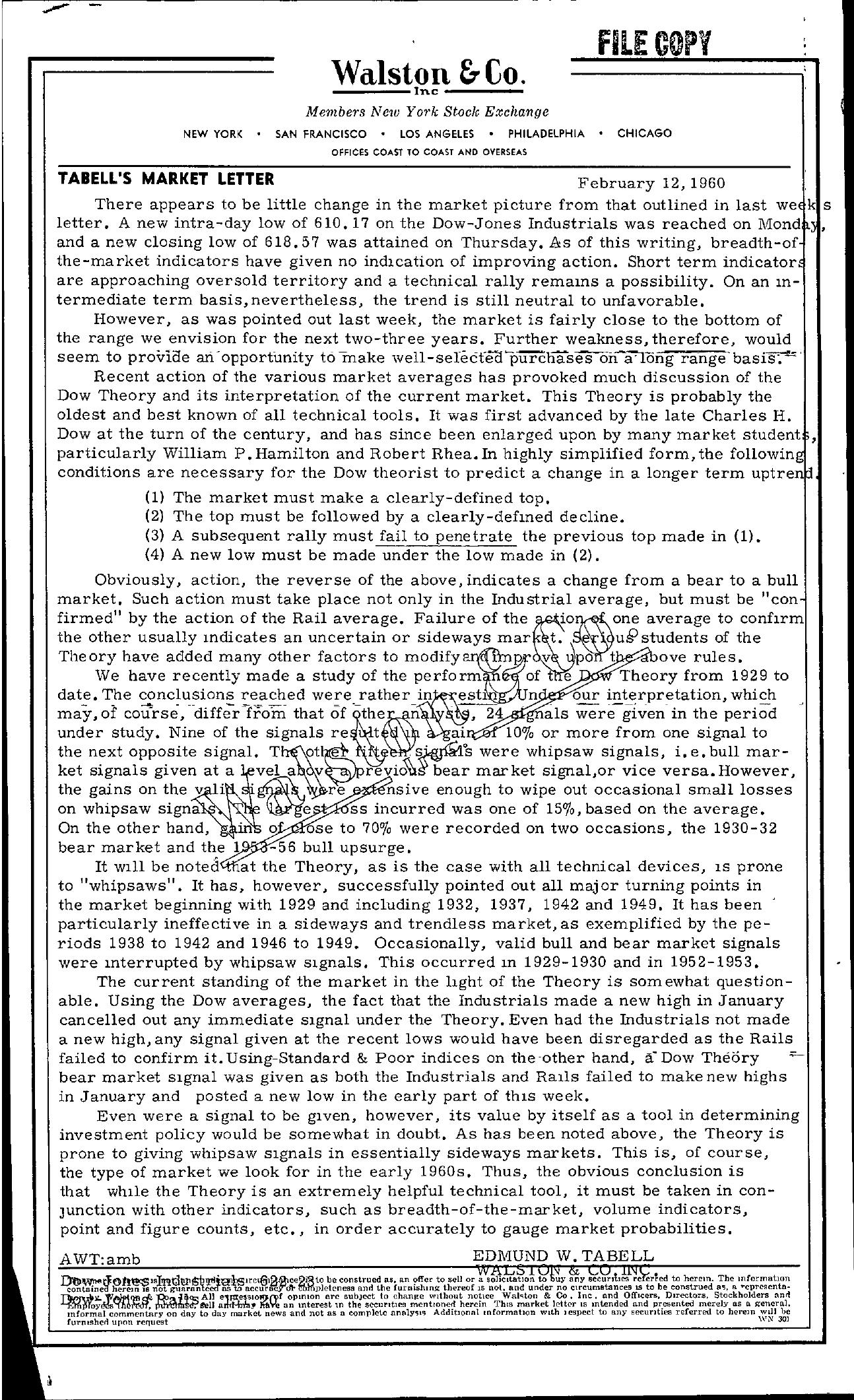 Tabell's Market Letter - February 12, 1960