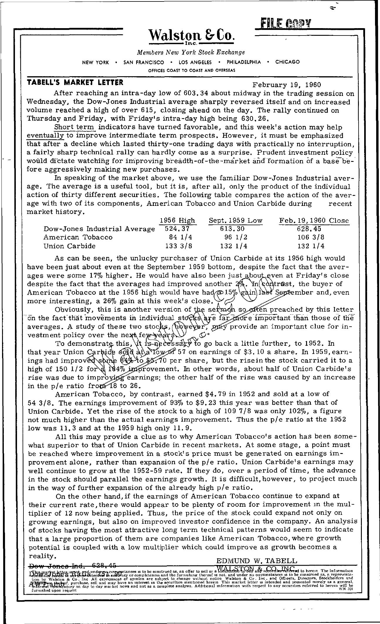 Tabell's Market Letter - February 19, 1960