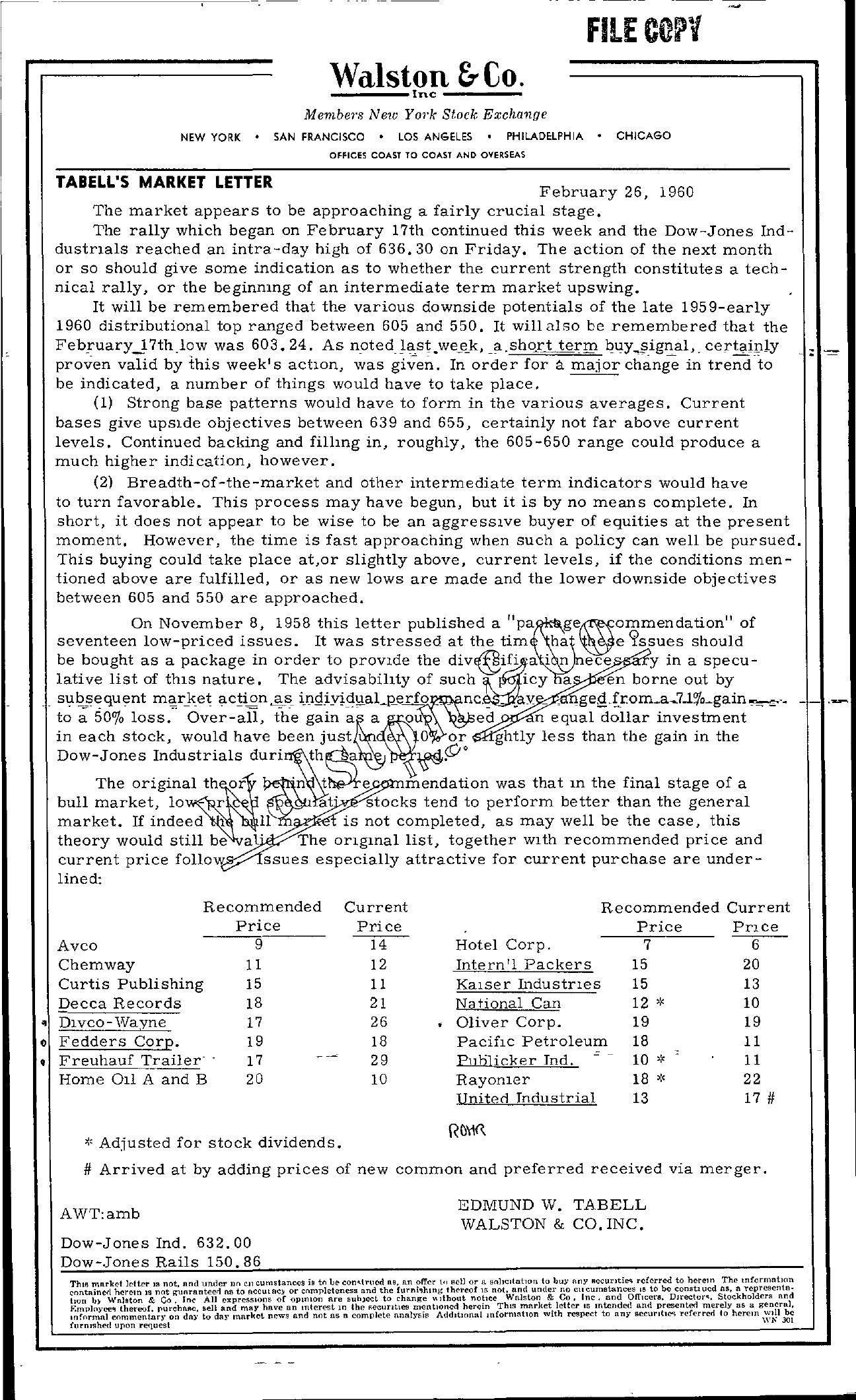 Tabell's Market Letter - February 26, 1960