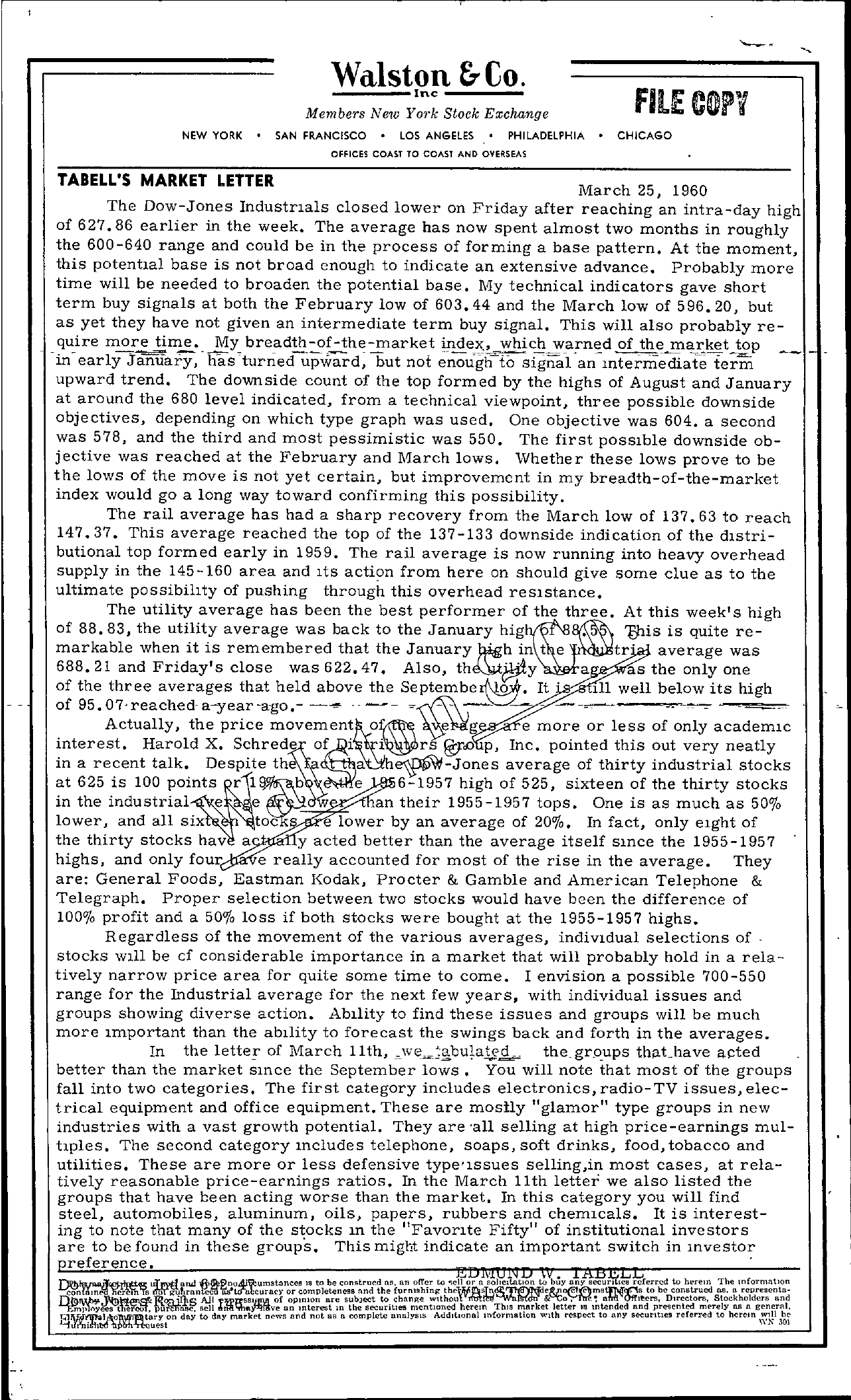 Tabell's Market Letter - March 25, 1960