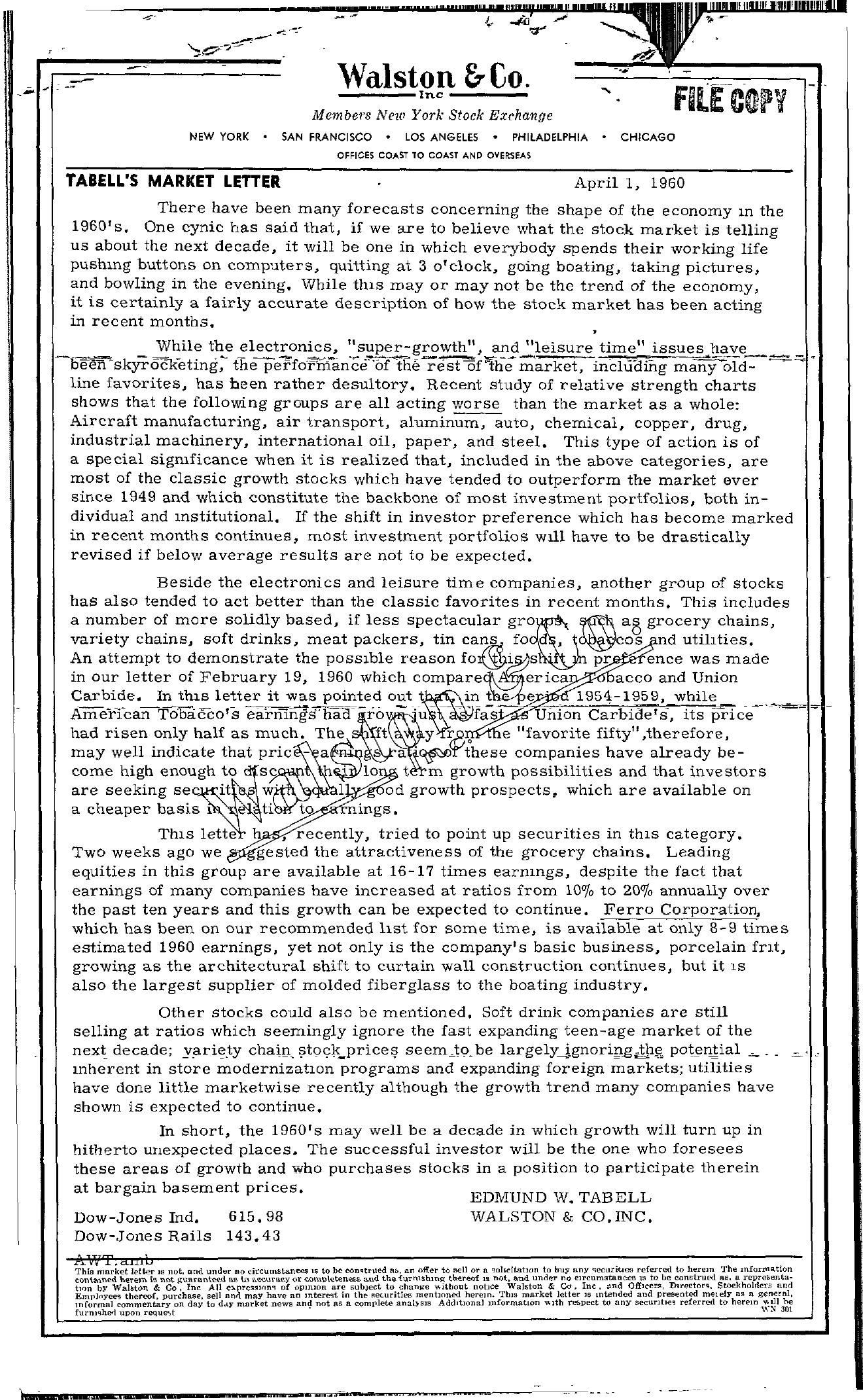 Tabell's Market Letter - April 01, 1960