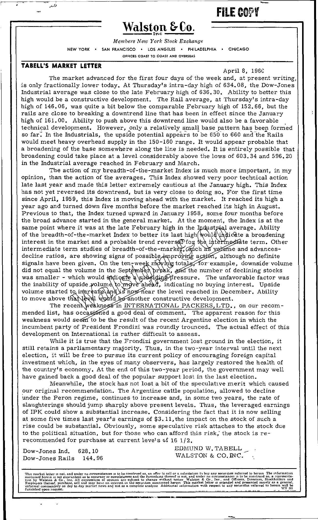 Tabell's Market Letter - April 08, 1960