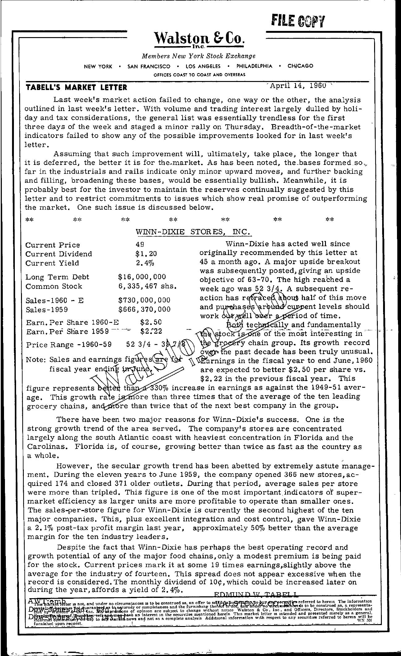 Tabell's Market Letter - April 14, 1960