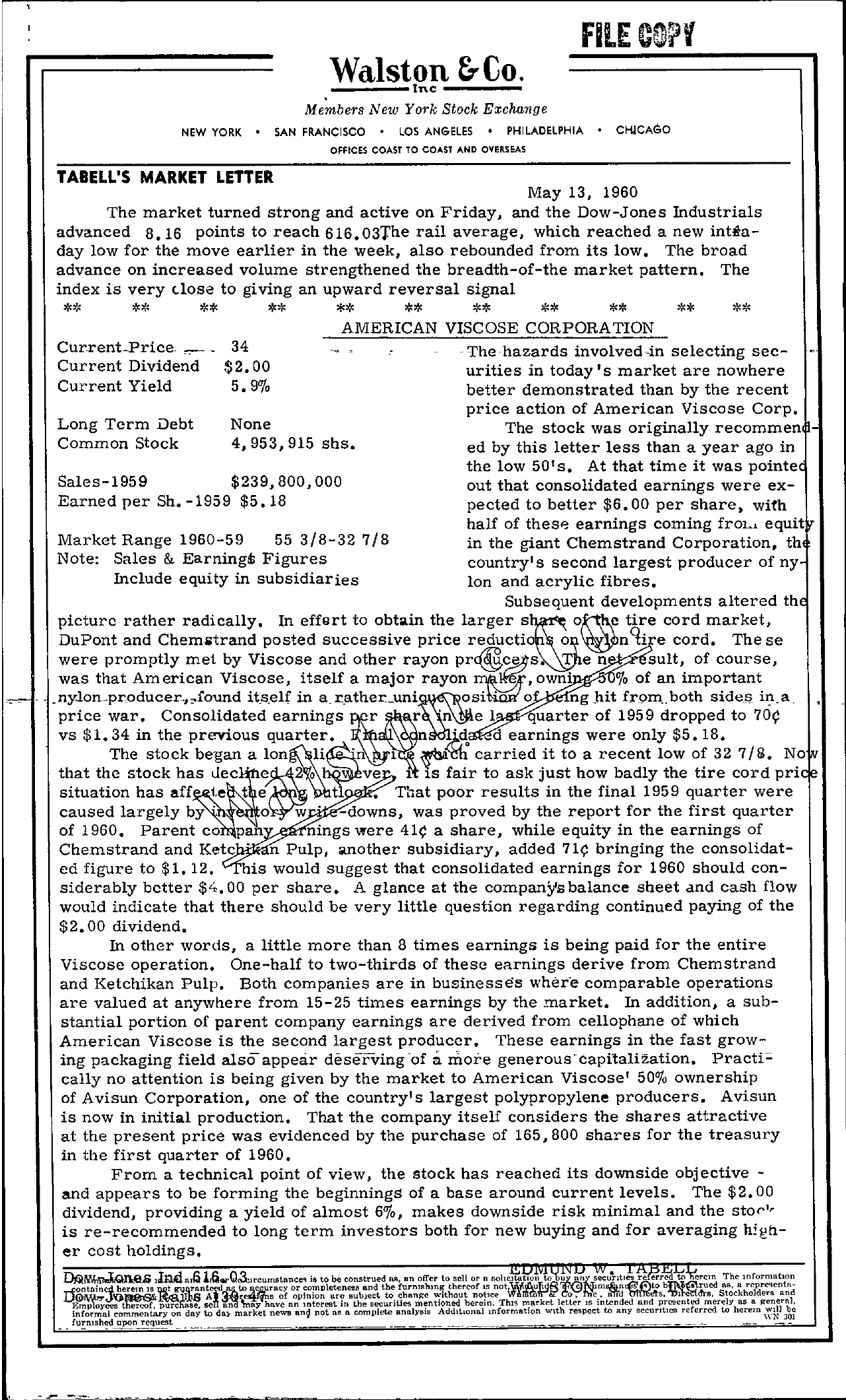 Tabell's Market Letter - May 13, 1960