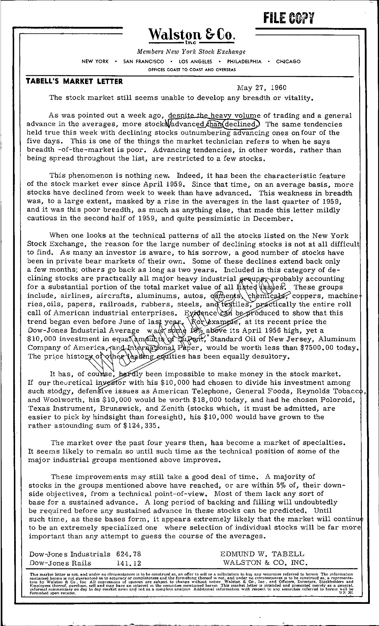 Tabell's Market Letter - May 27, 1960