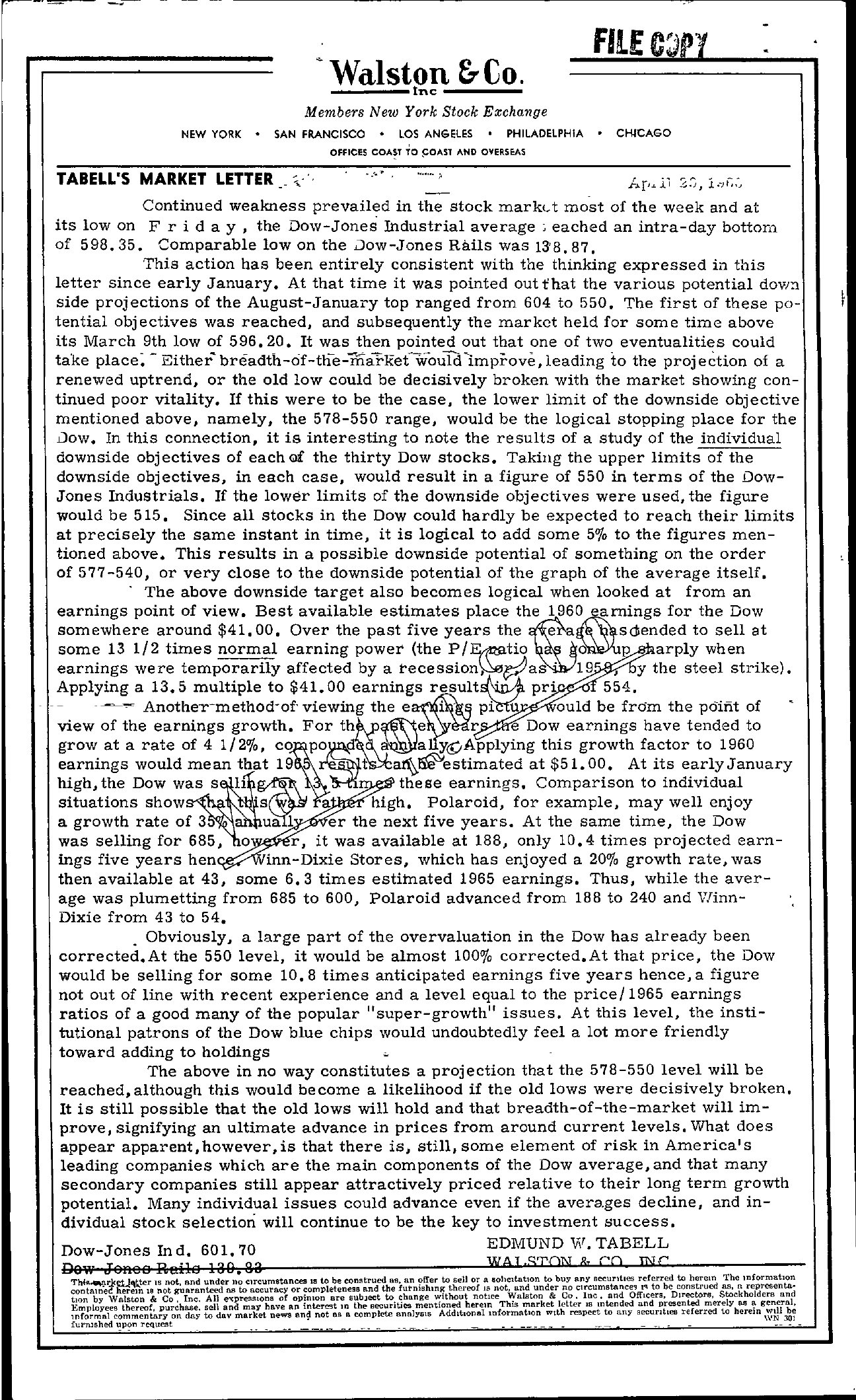 Tabell's Market Letter - May 30, 1960
