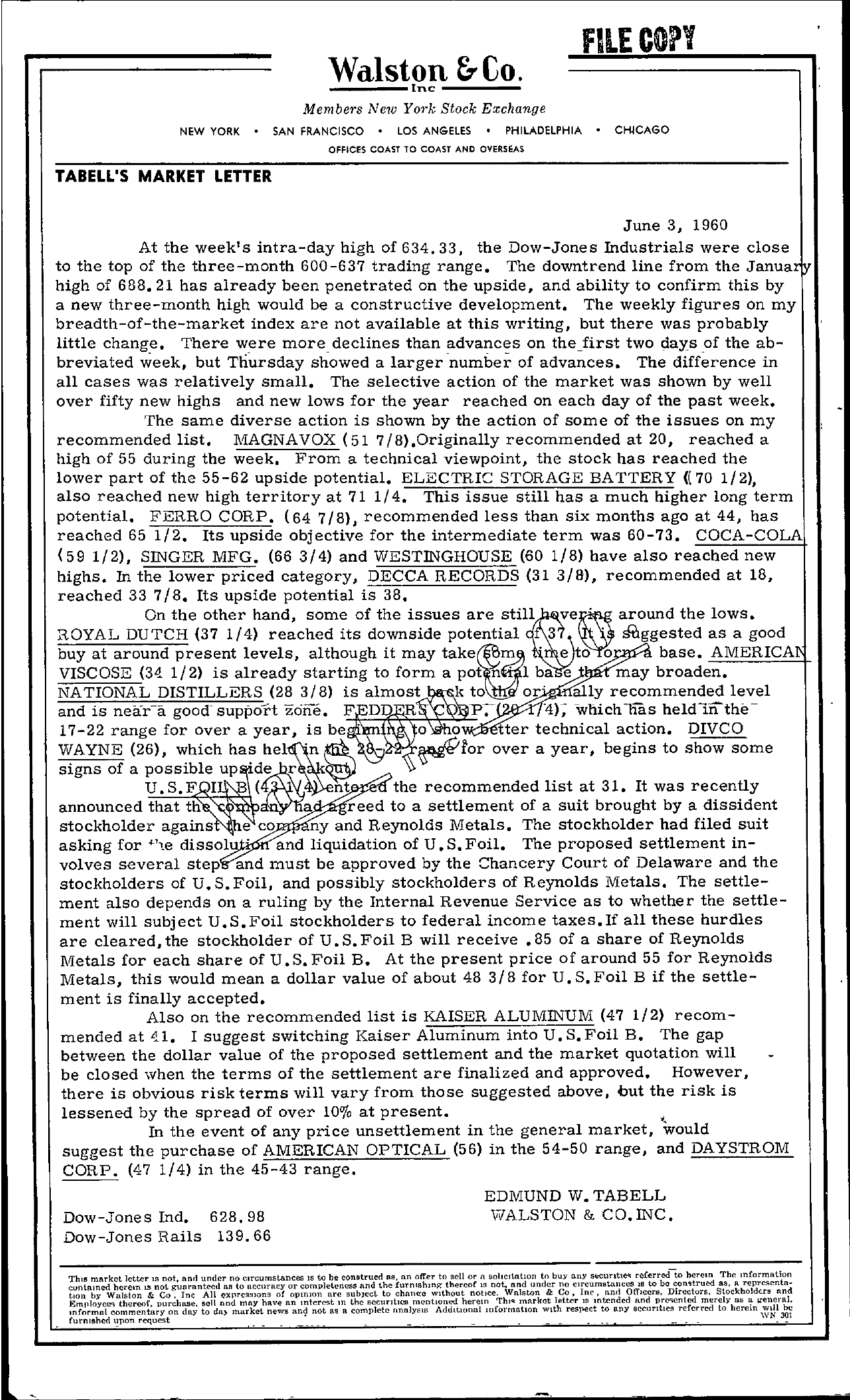 Tabell's Market Letter - June 03, 1960