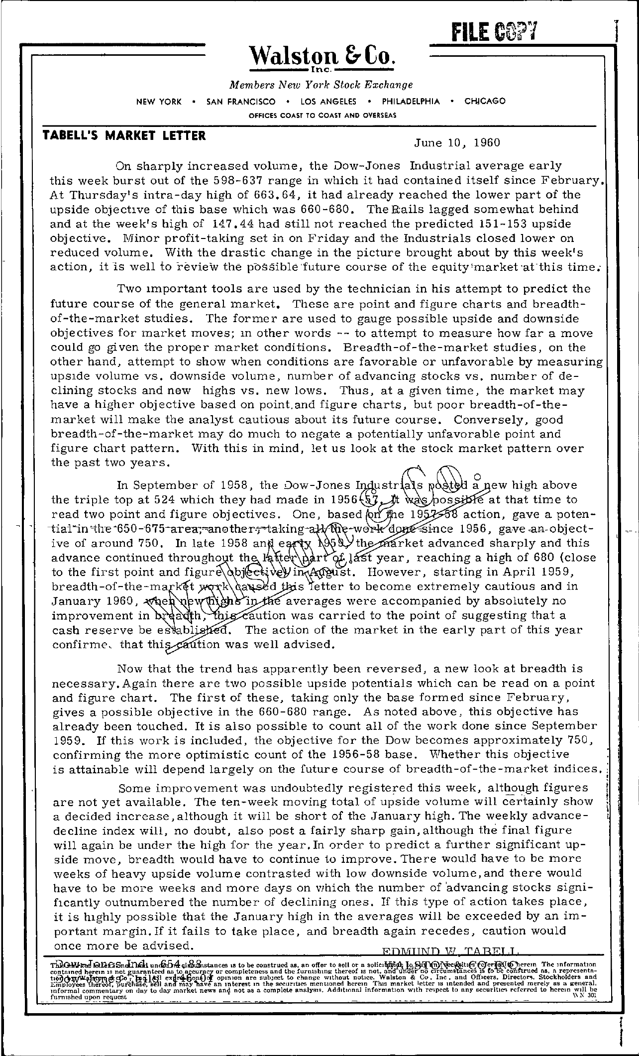Tabell's Market Letter - June 10, 1960