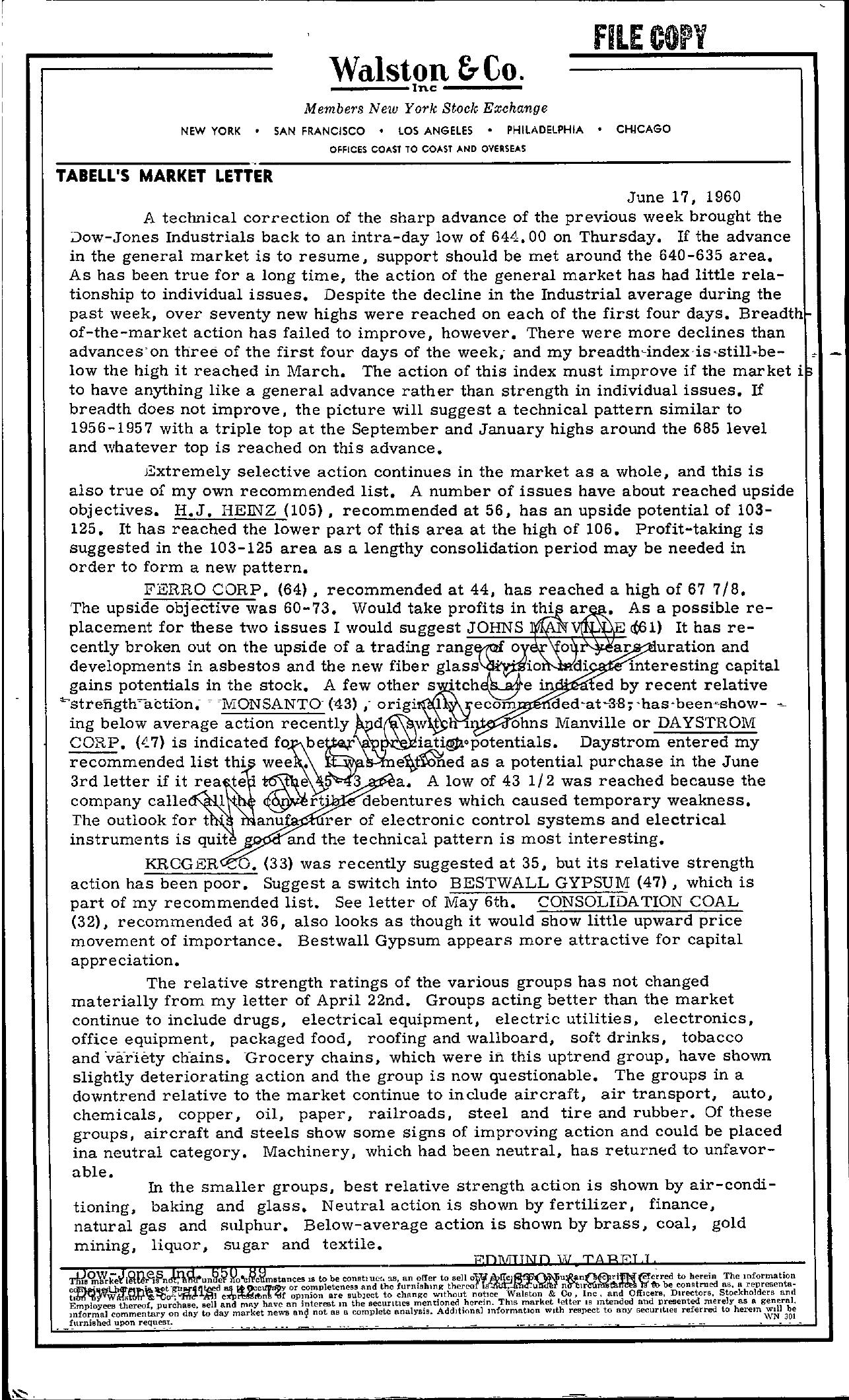 Tabell's Market Letter - June 17, 1960