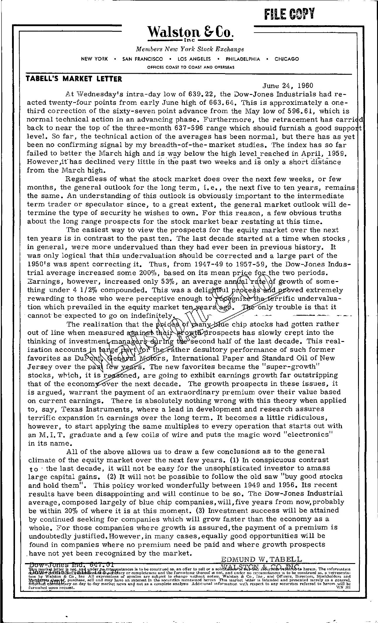 Tabell's Market Letter - June 24, 1960
