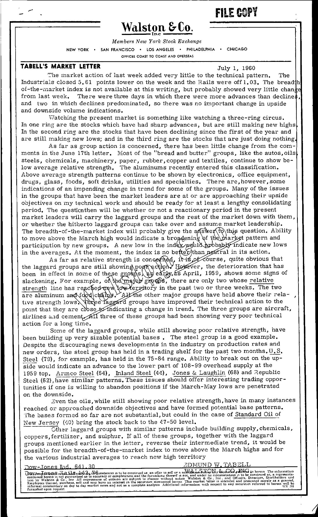 Tabell's Market Letter - July 01, 1960