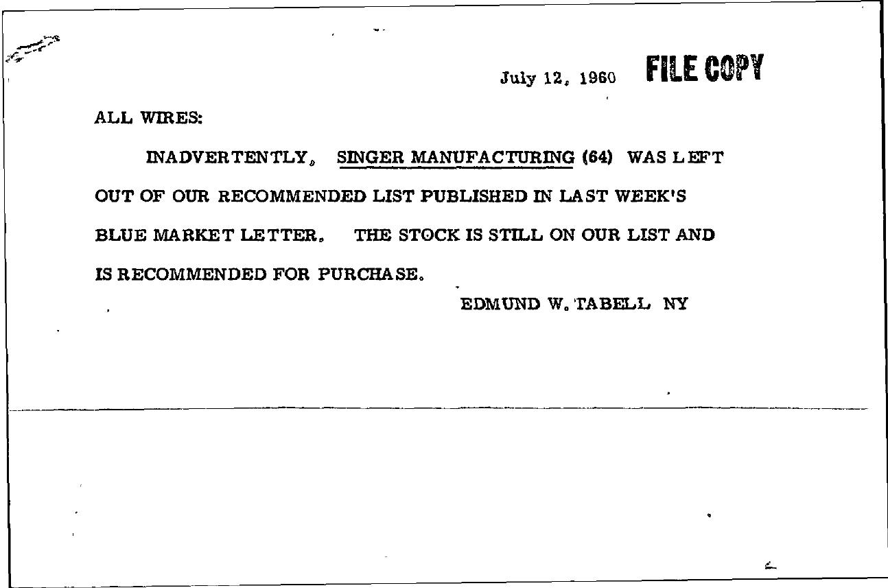 Tabell's Market Letter - July 12, 1960